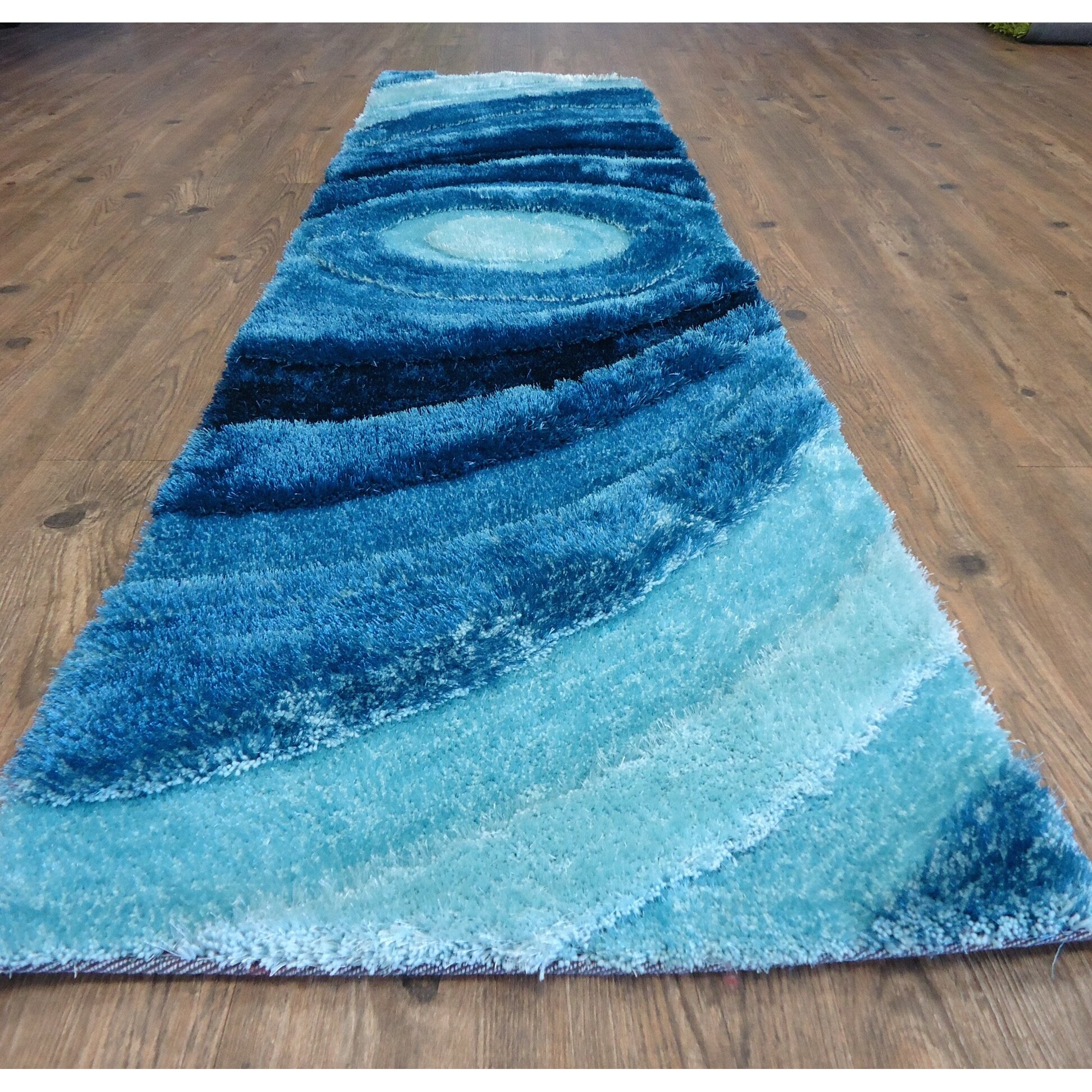 Rug Factory Plus Living Shag Hand Tufted Turquoise Area