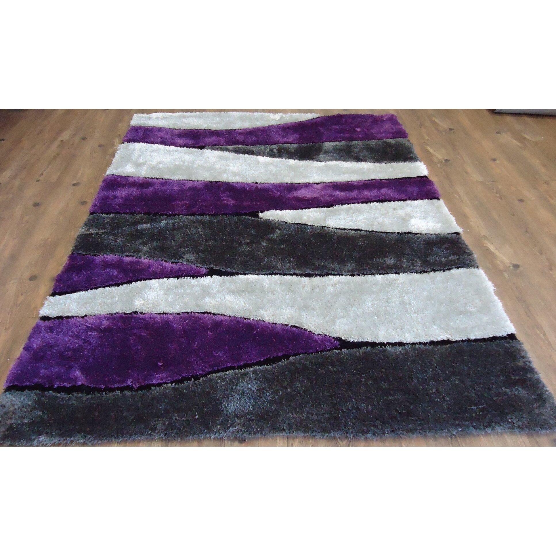gray and purple area rug