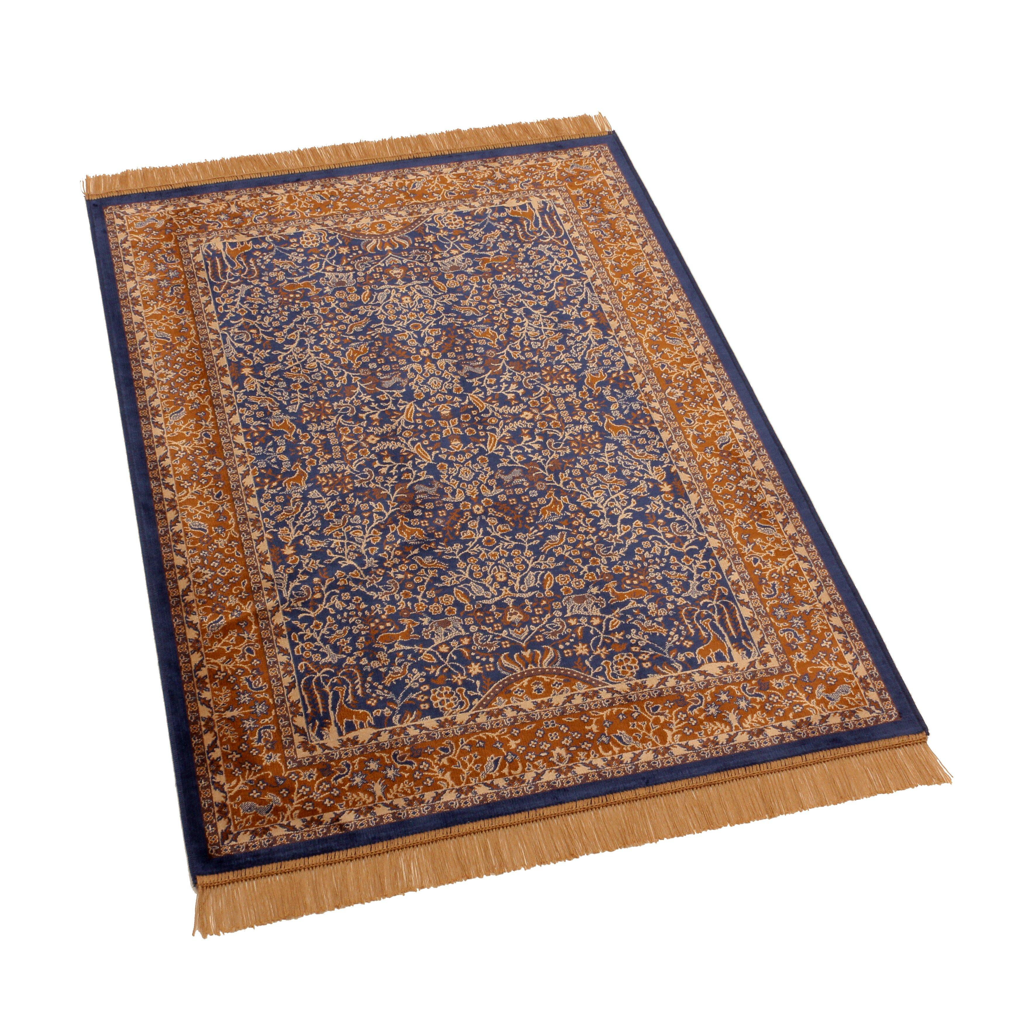 Barefoot artsilk rugs persian tree of life handmade blue for Custom made area rugs