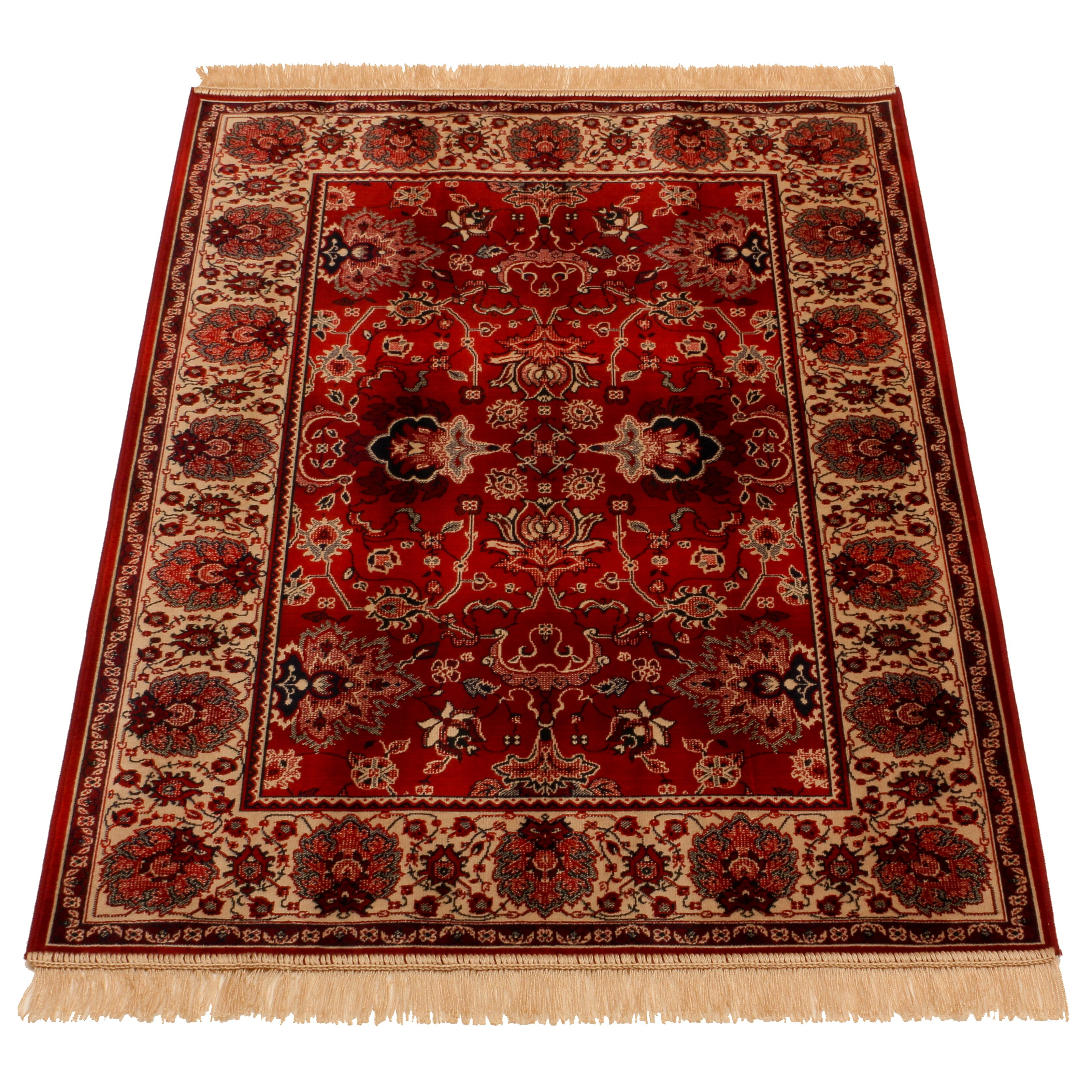 Barefoot Artsilk Rugs Indian Agra Hand-Woven Red Area Rug