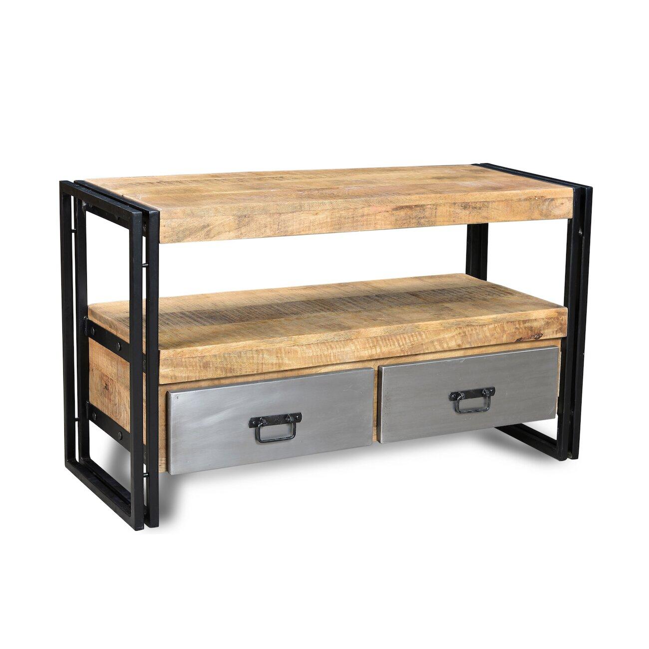 Timbergirl Handmade Reclaimed Metal 2 Drawer Wood Tv Cabinet Reviews Wayfair
