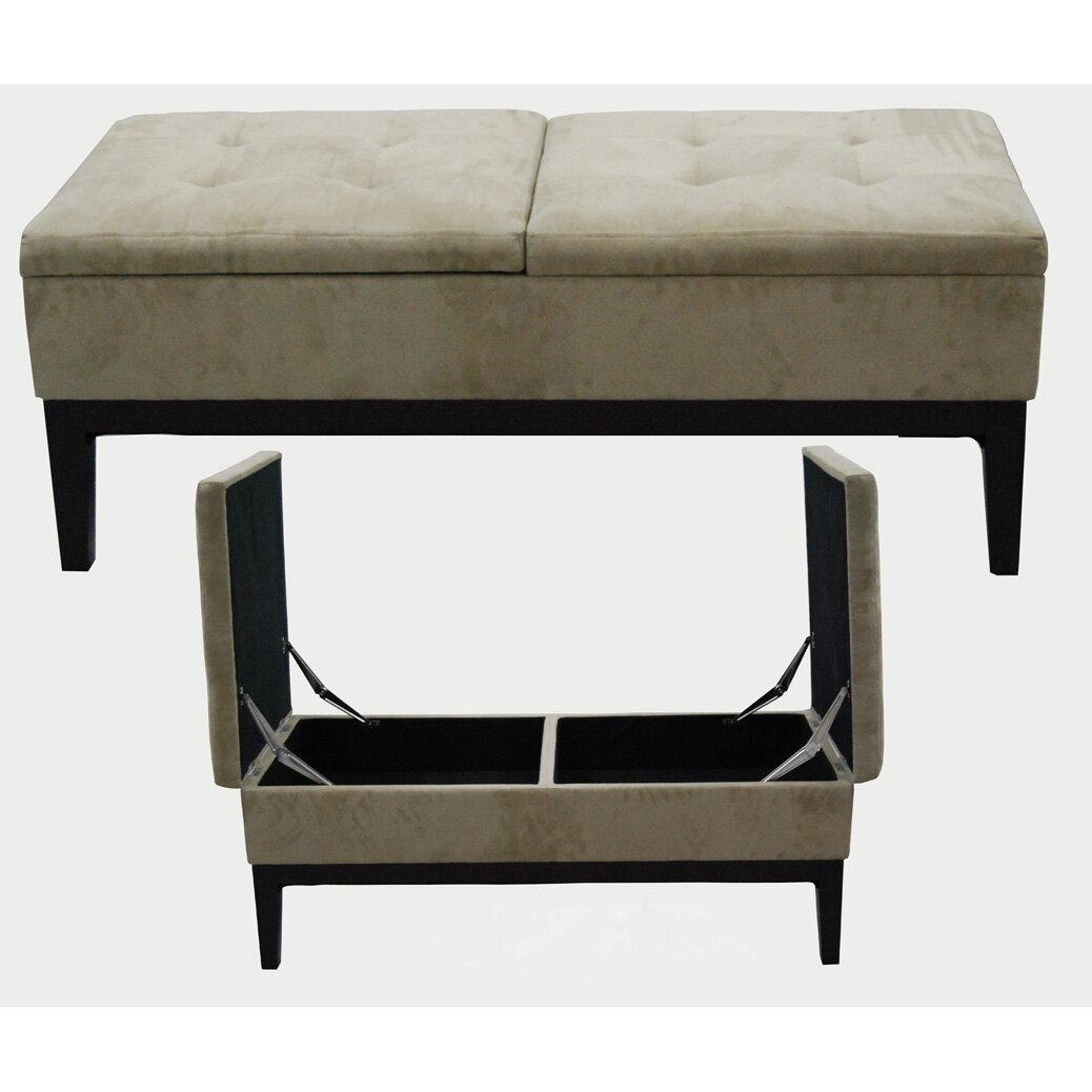 Upholstered Bench Beige: ORE Furniture Upholstered Storage Bench & Reviews