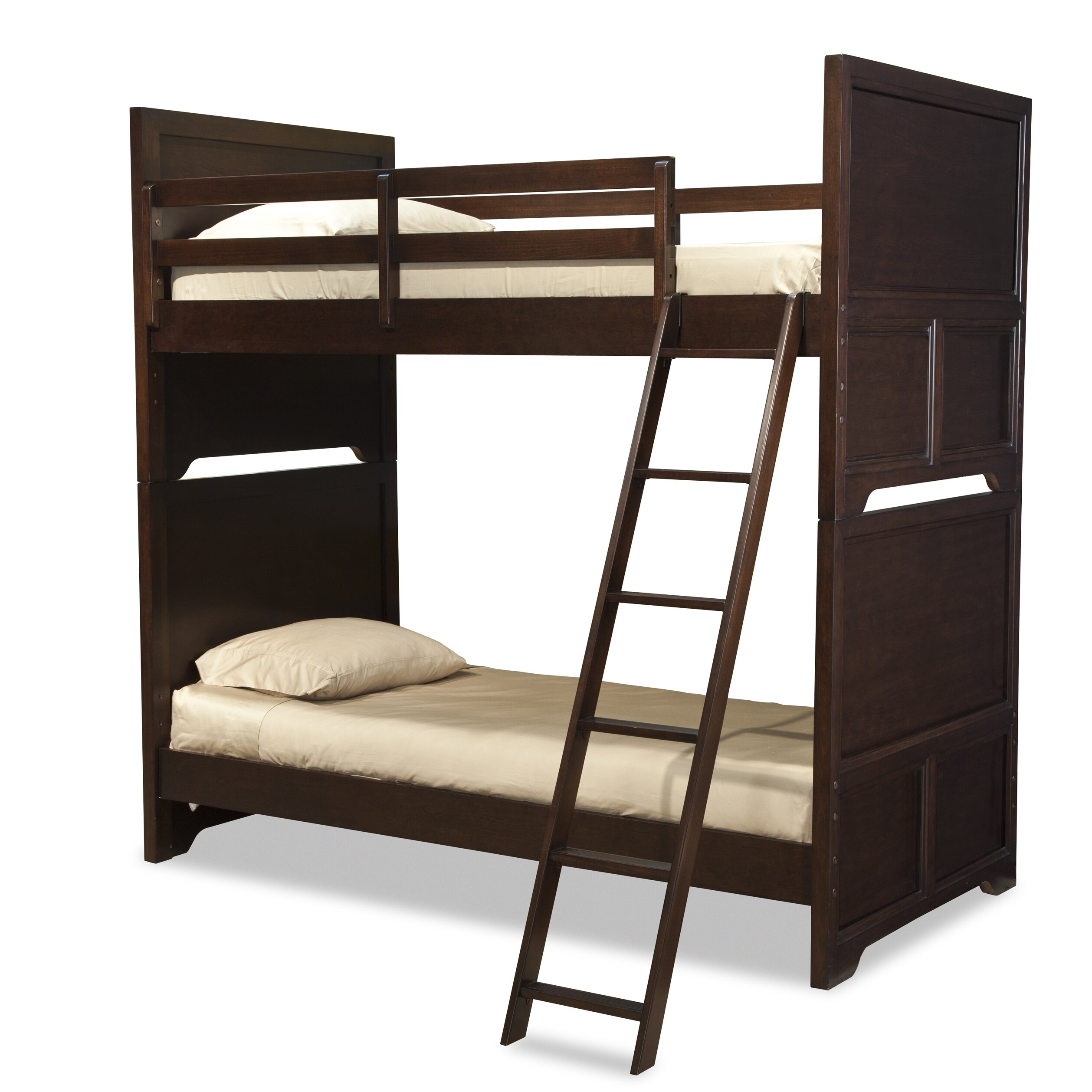Lc kids benchmark twin over twin standard bunk bed with for Kids twin bed with drawers