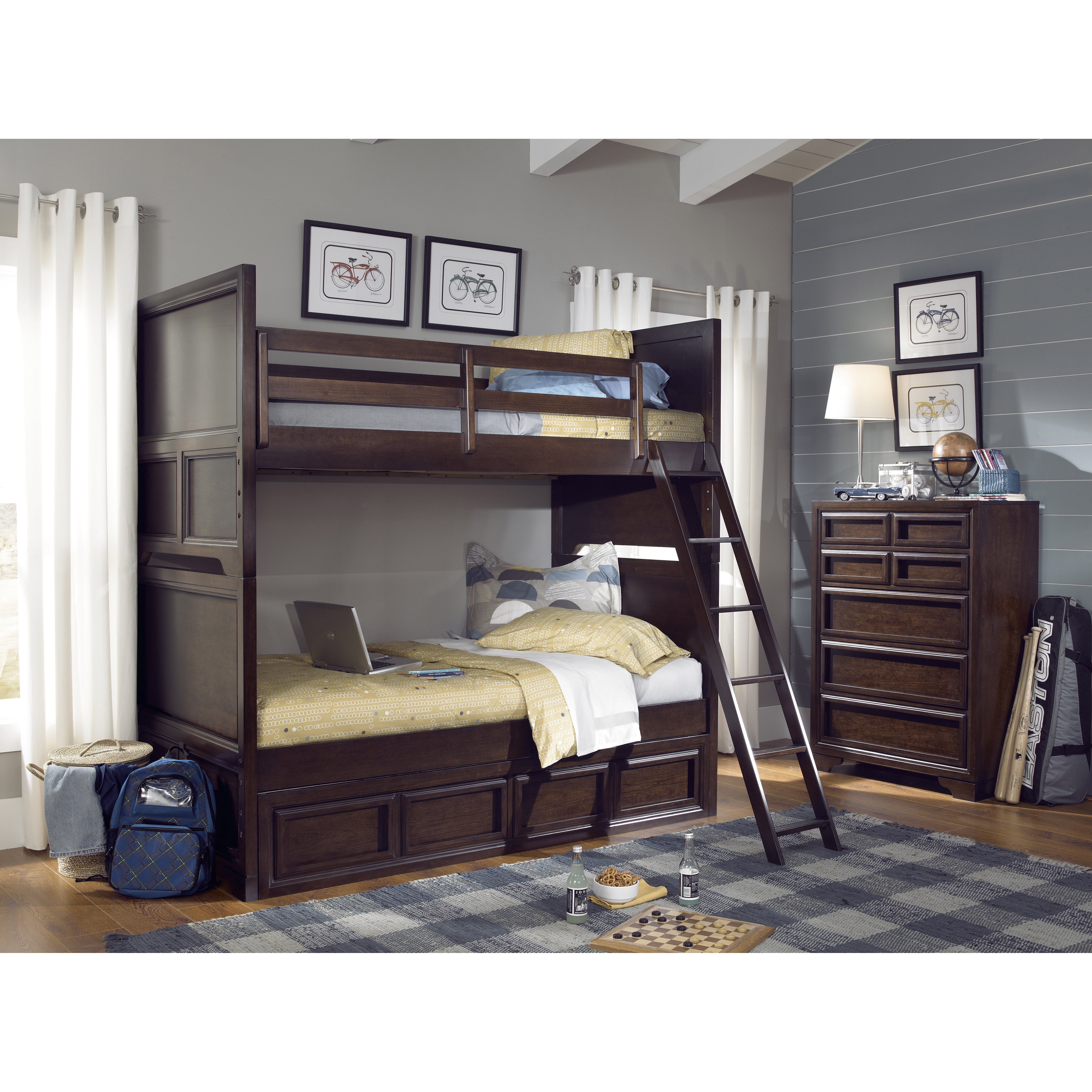 lc kids benchmark twin over twin standard bunk bed with underbed storage drawer. Black Bedroom Furniture Sets. Home Design Ideas