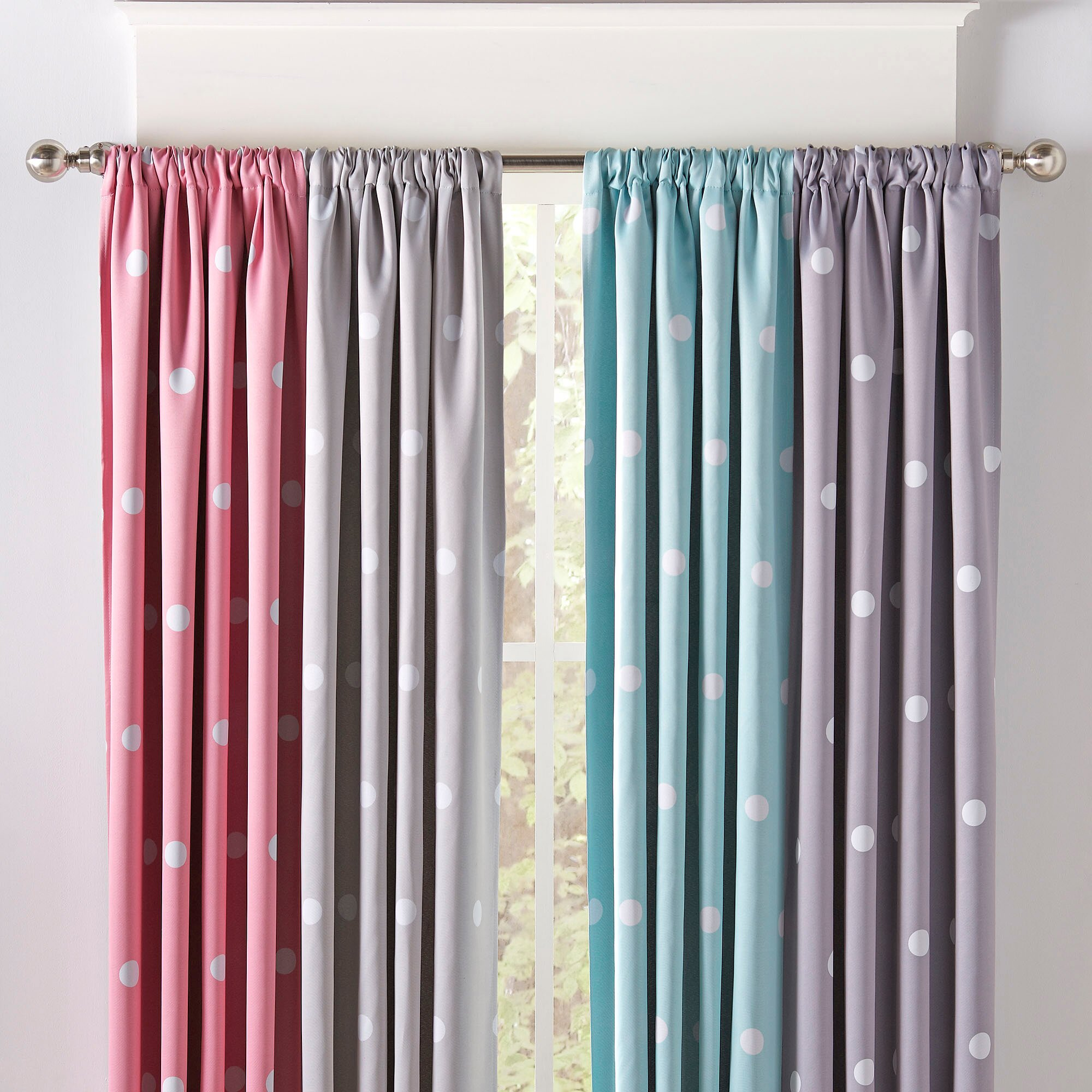 Birch lane kids dotted curtains reviews wayfair for Kid curtains window treatments