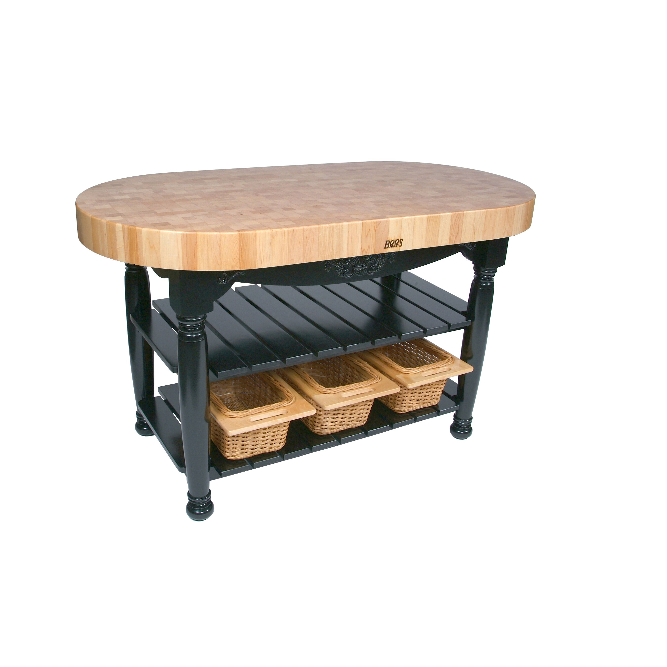 John boos american heritage prep table with butcher block top reviews wayfair - Butcher block kitchen table set ...