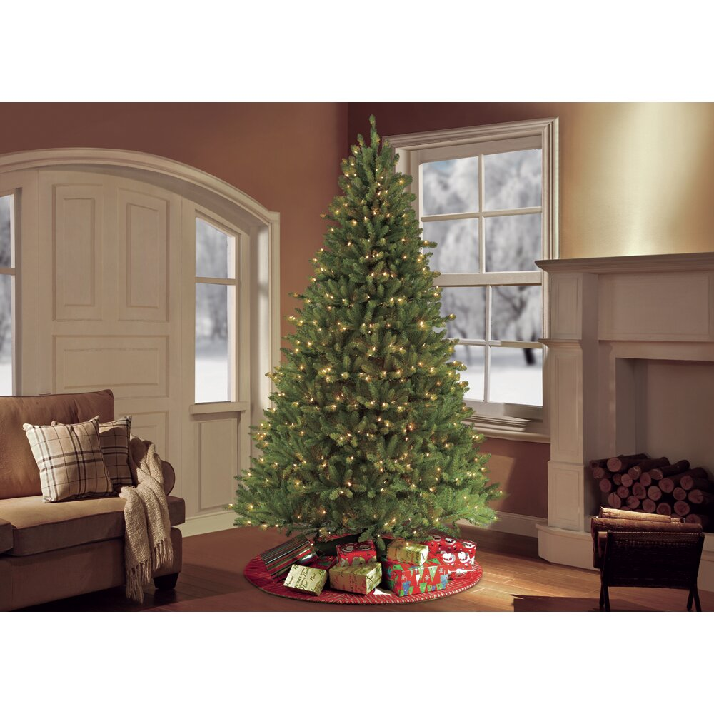 Puleo 9' Green Artificial Christmas Tree with 1000 UL Clear Lights ...