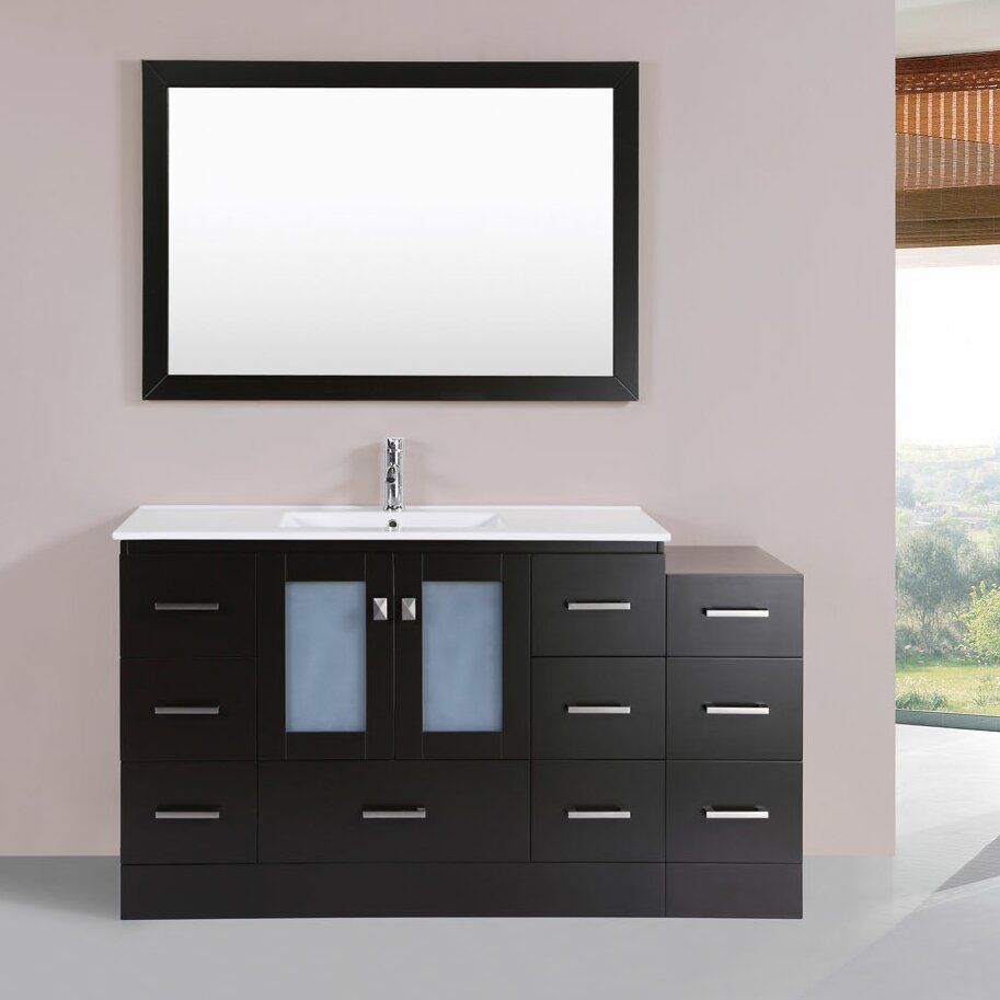 hermosa 60 single modern bathroom side cabinet vanity set with mirror