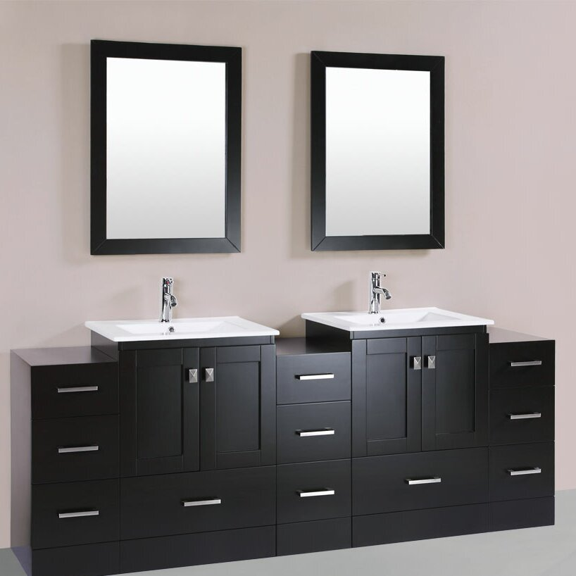 redondo 84 double modern bathroom 3 side cabinets vanity set with