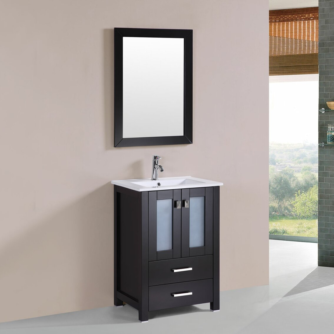 Pacificcollection Newport 24 Single Modern Bathroom Vanity Set With Mirror Reviews Wayfair