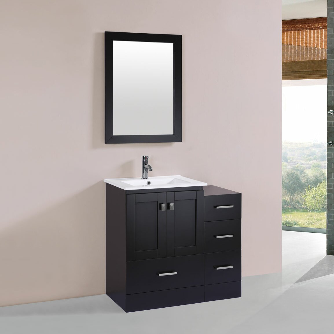 Pacificcollection Redondo 36 Single Modern Bathroom Side Cabinet Vanity Set With Mirror