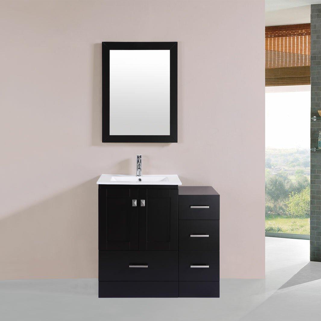 redondo 36 single modern bathroom side cabinet vanity set with mirror