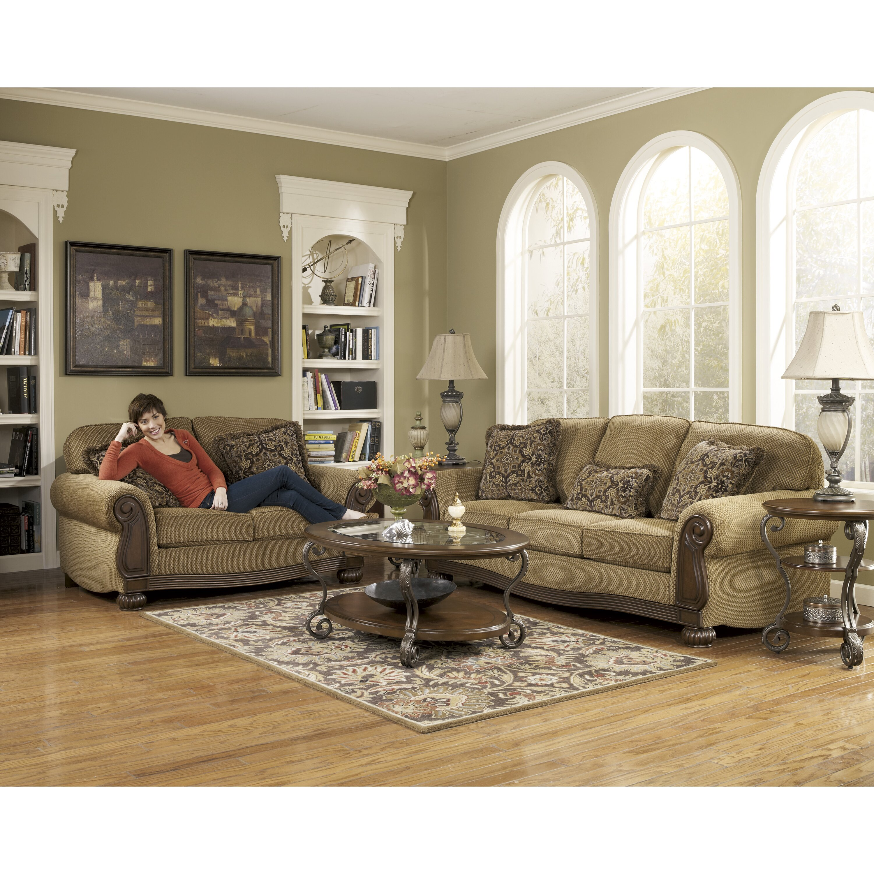 Signature design by ashley taylor sofa reviews wayfair for Living room furniture groups