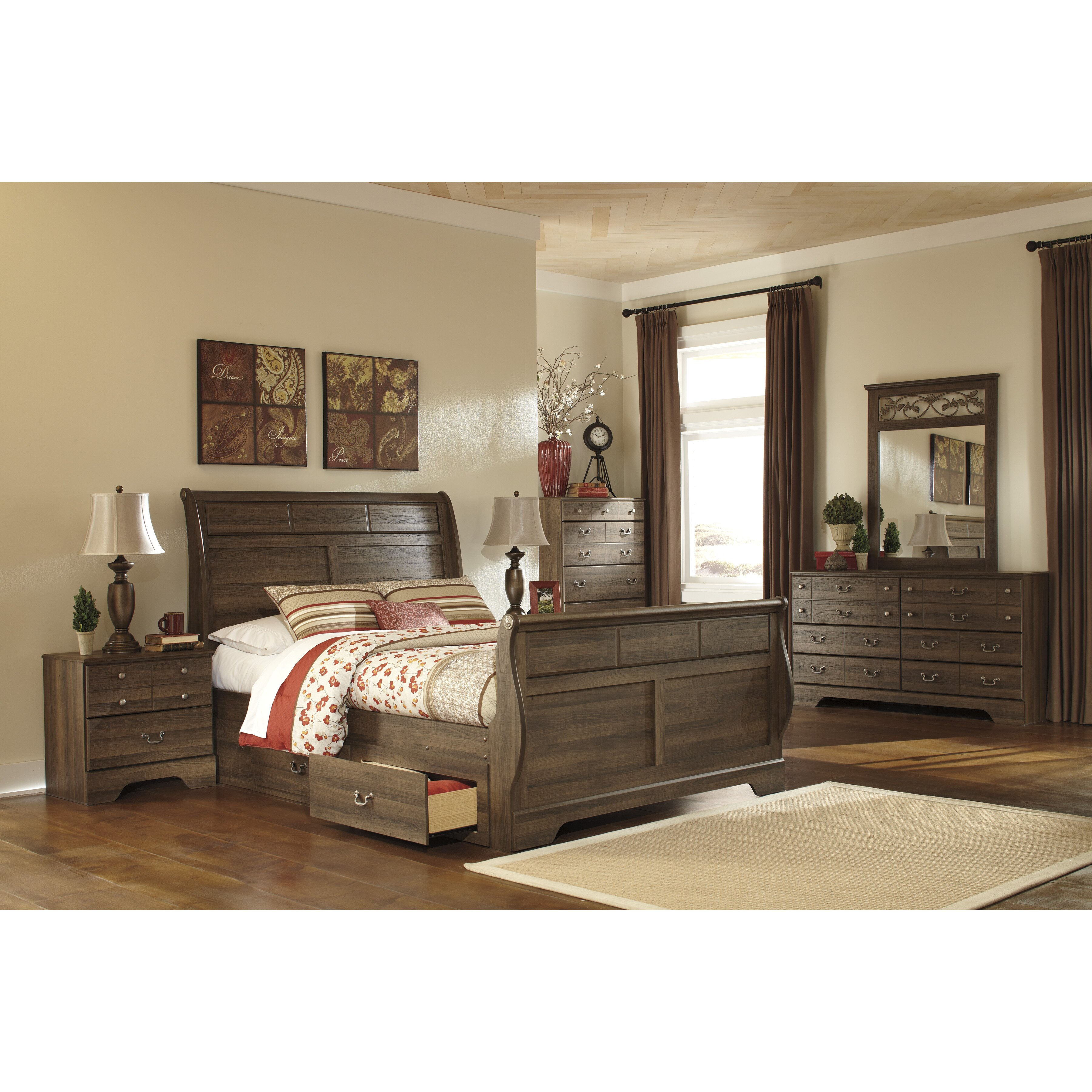 Signature design by ashley allymore sleigh customizable bedroom set reviews wayfair - Bedroom sets ashley furniture ...