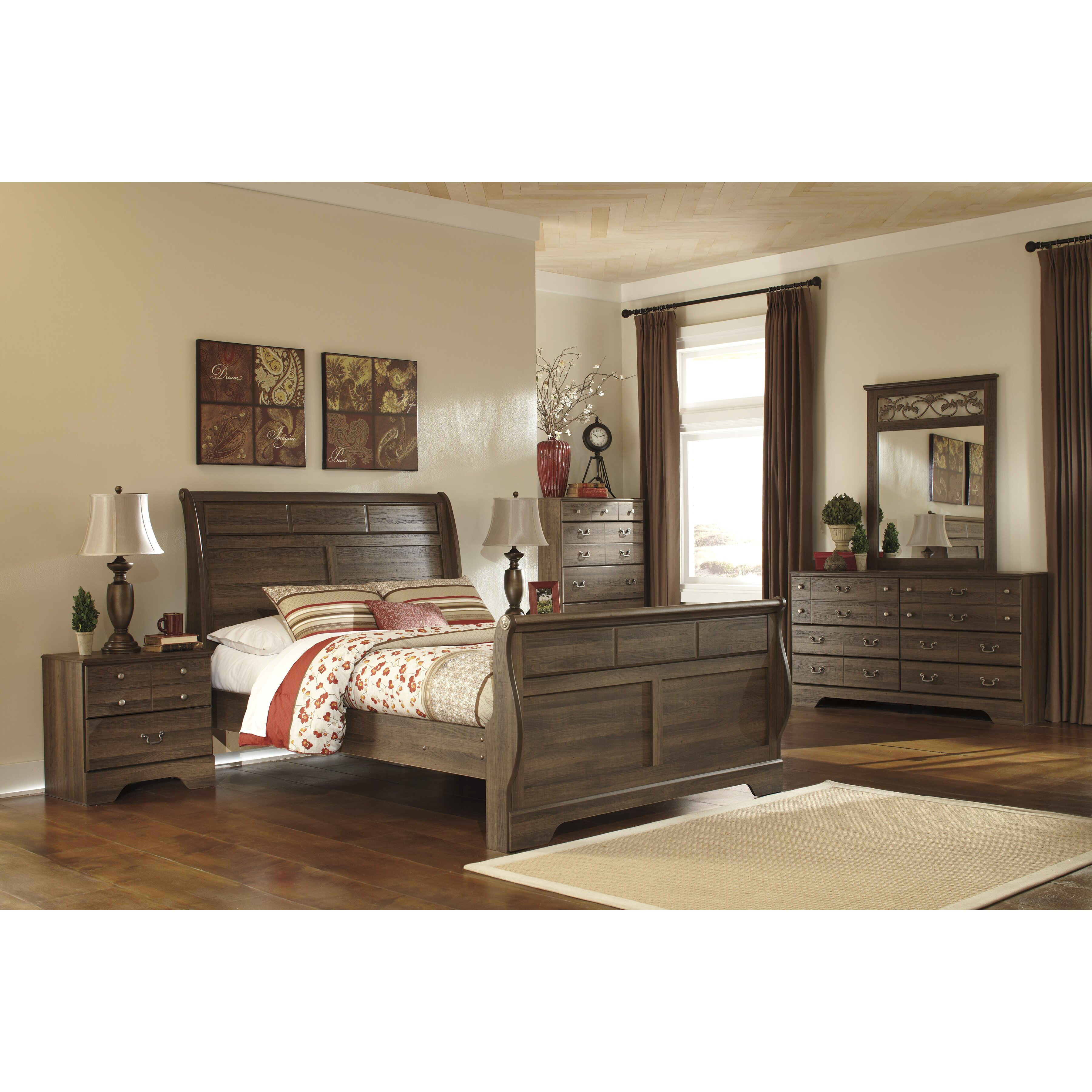 Signature design by ashley allymore 5 drawer chest - Ashley furniture sleigh bedroom set ...