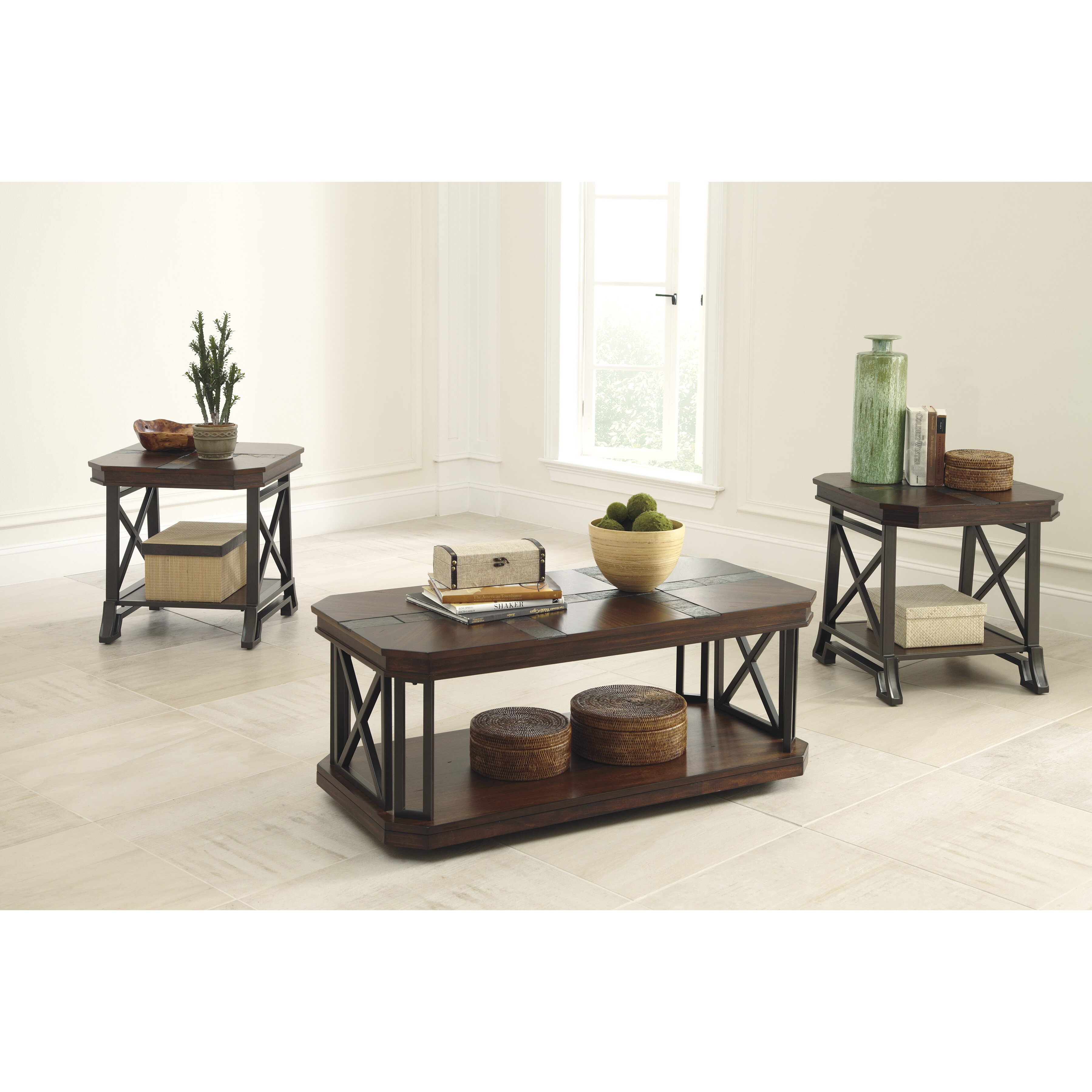 Ashley Mallacar Piece Coffee Table Set In Black T: Signature Design By Ashley Vinasville 3 Piece Coffee Table