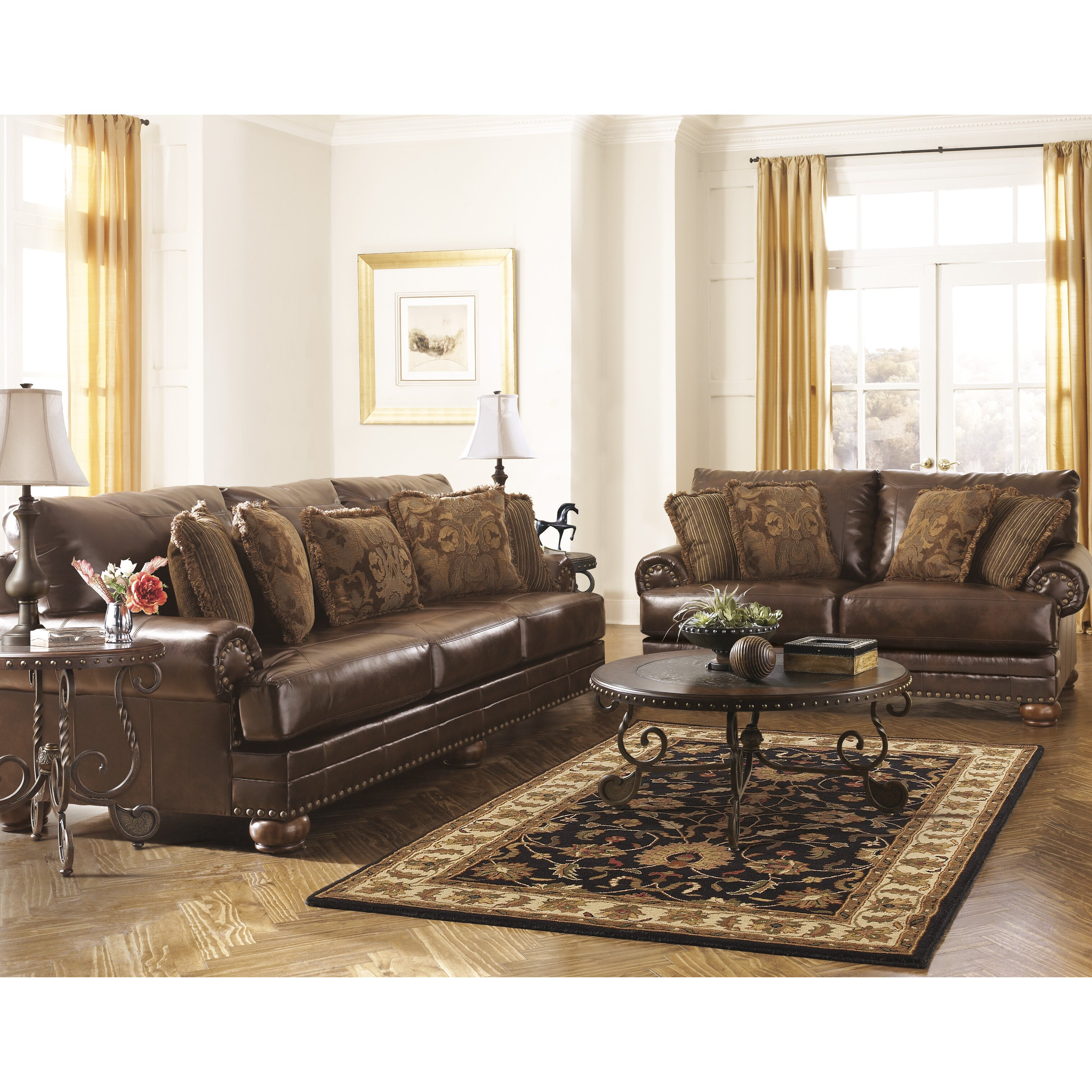 Signature design by ashley leighton leather sofa reviews for Ashley leather sofa