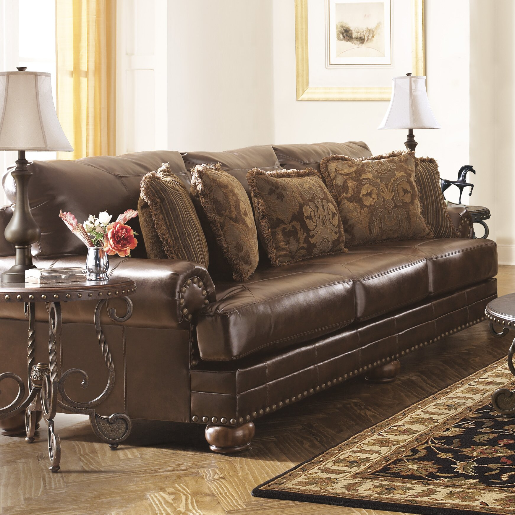 Hasley Furniture: Signature Design By Ashley Leighton Leather Sofa & Reviews