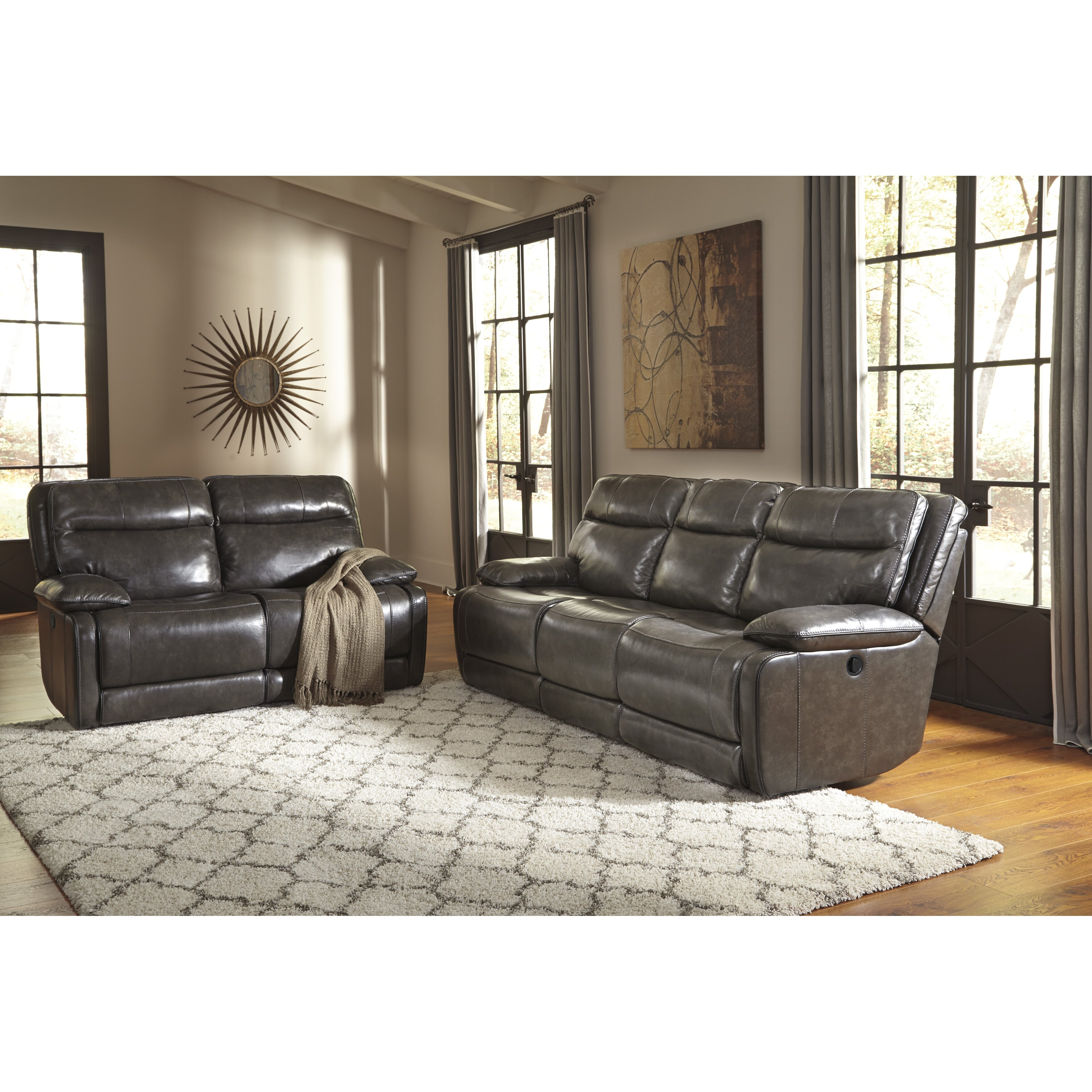 Signature Design by Ashley Leather Reclining Sofa | Wayfair