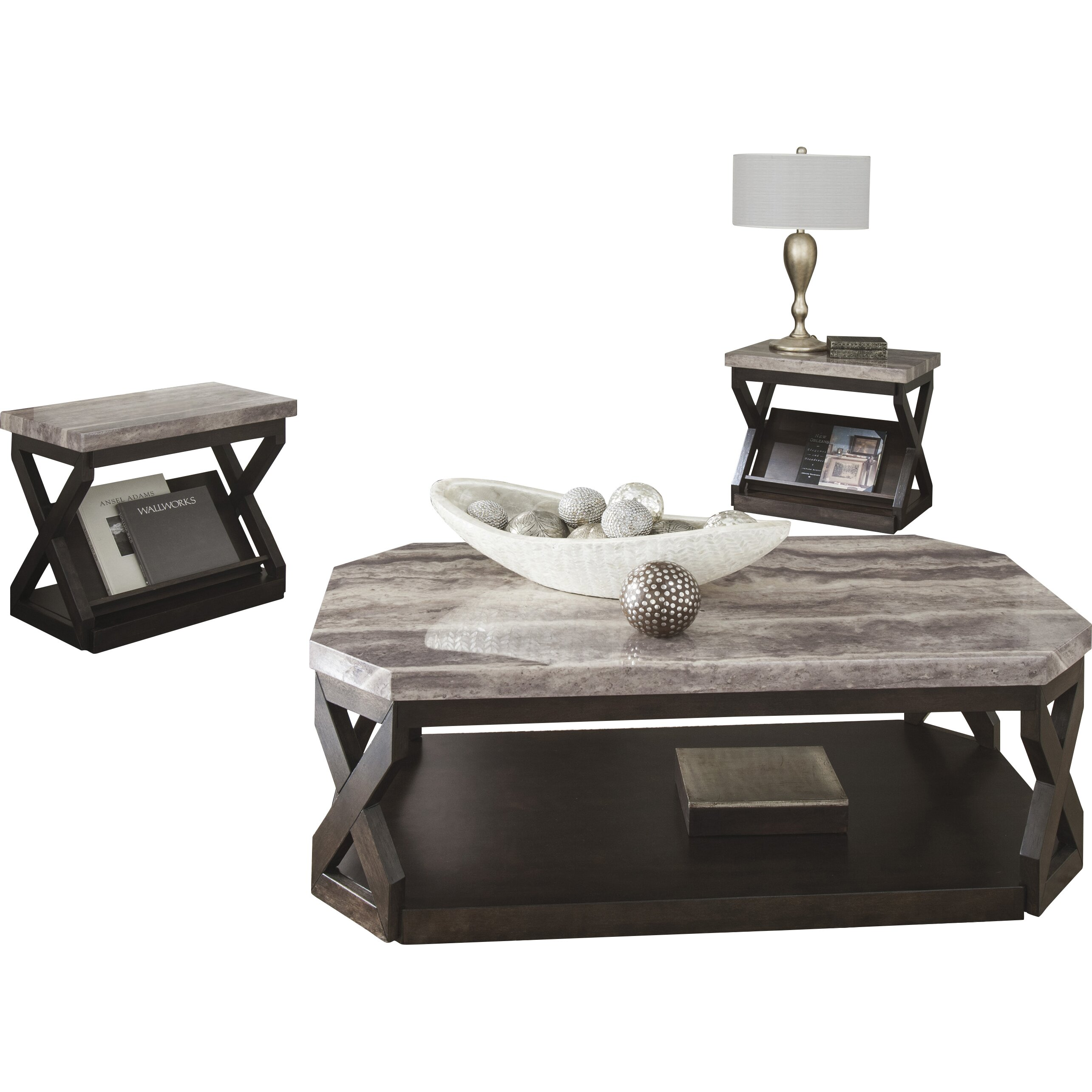 Signature Design By Ashley Radilyn 3 Piece Coffee Table Set Reviews Wayfair