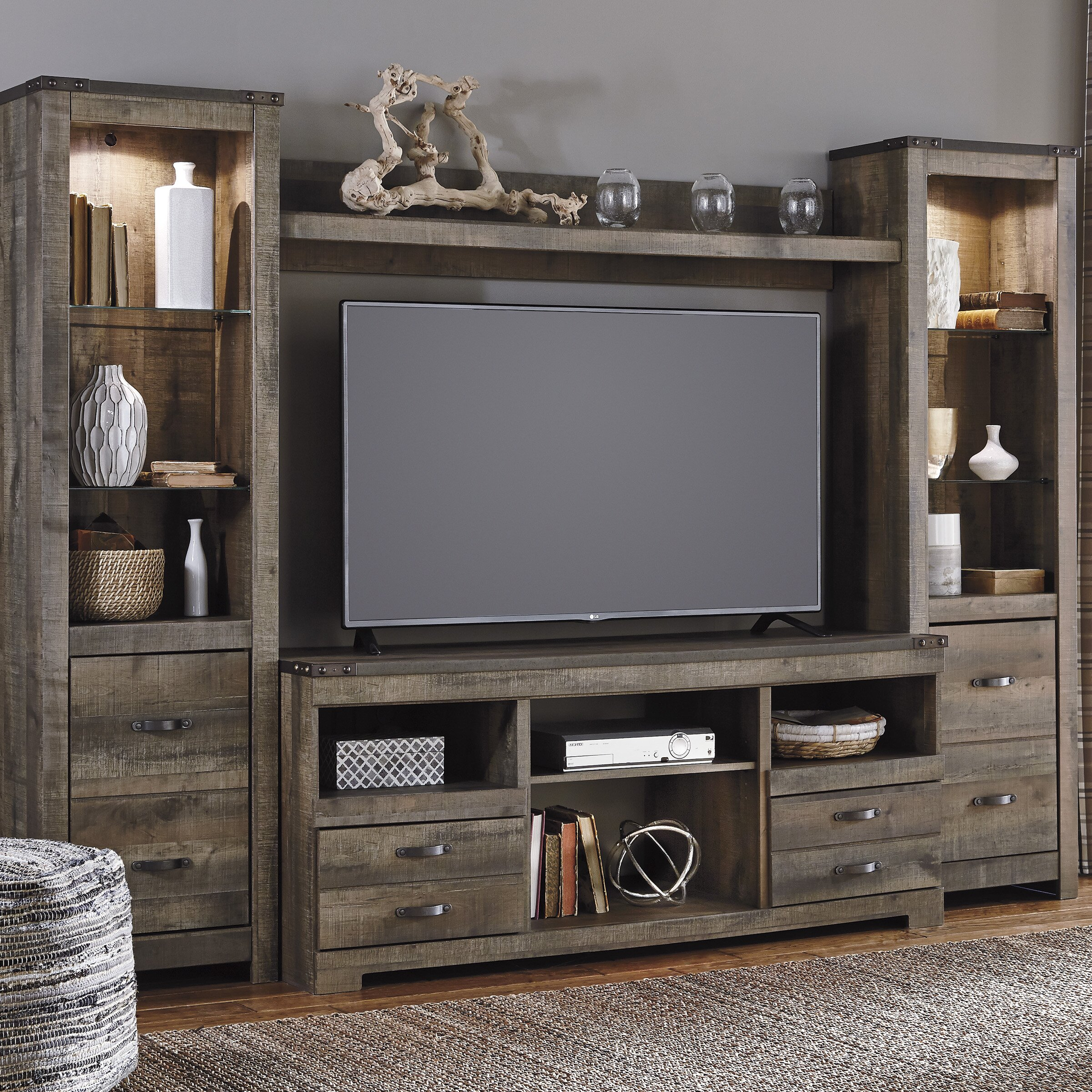 Signature design by ashley tv stand with fireplace option for Fireplace options