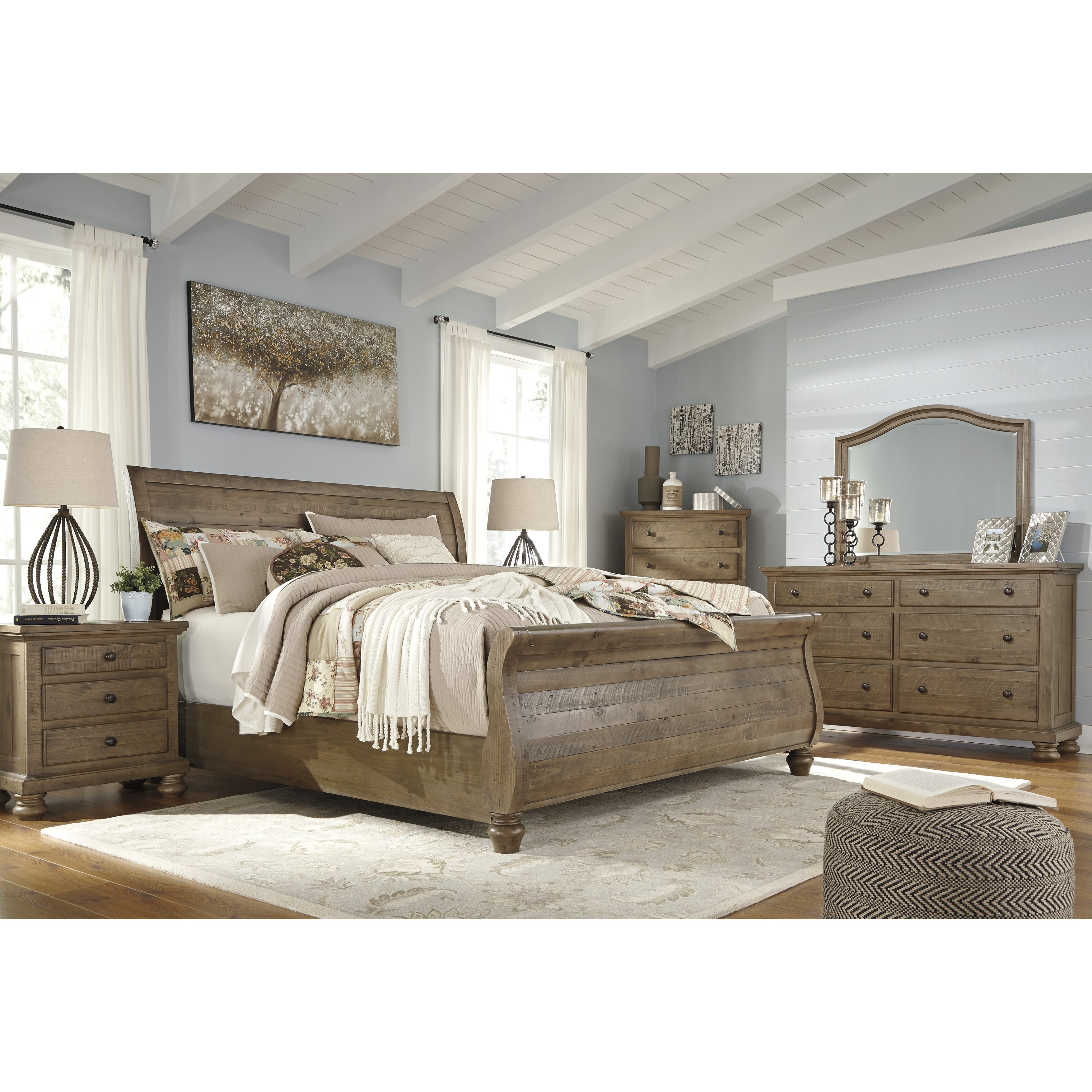 Signature design by ashley trishley sleigh customizable for Signature bedroom furniture