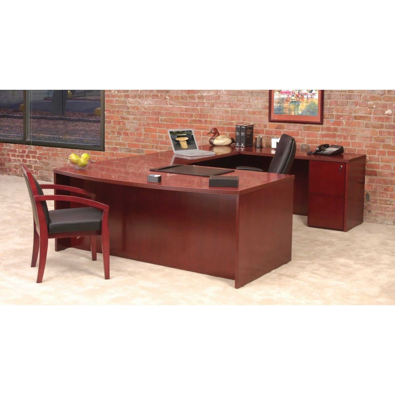 mayline luminary series u shape executive desk wayfair. Black Bedroom Furniture Sets. Home Design Ideas