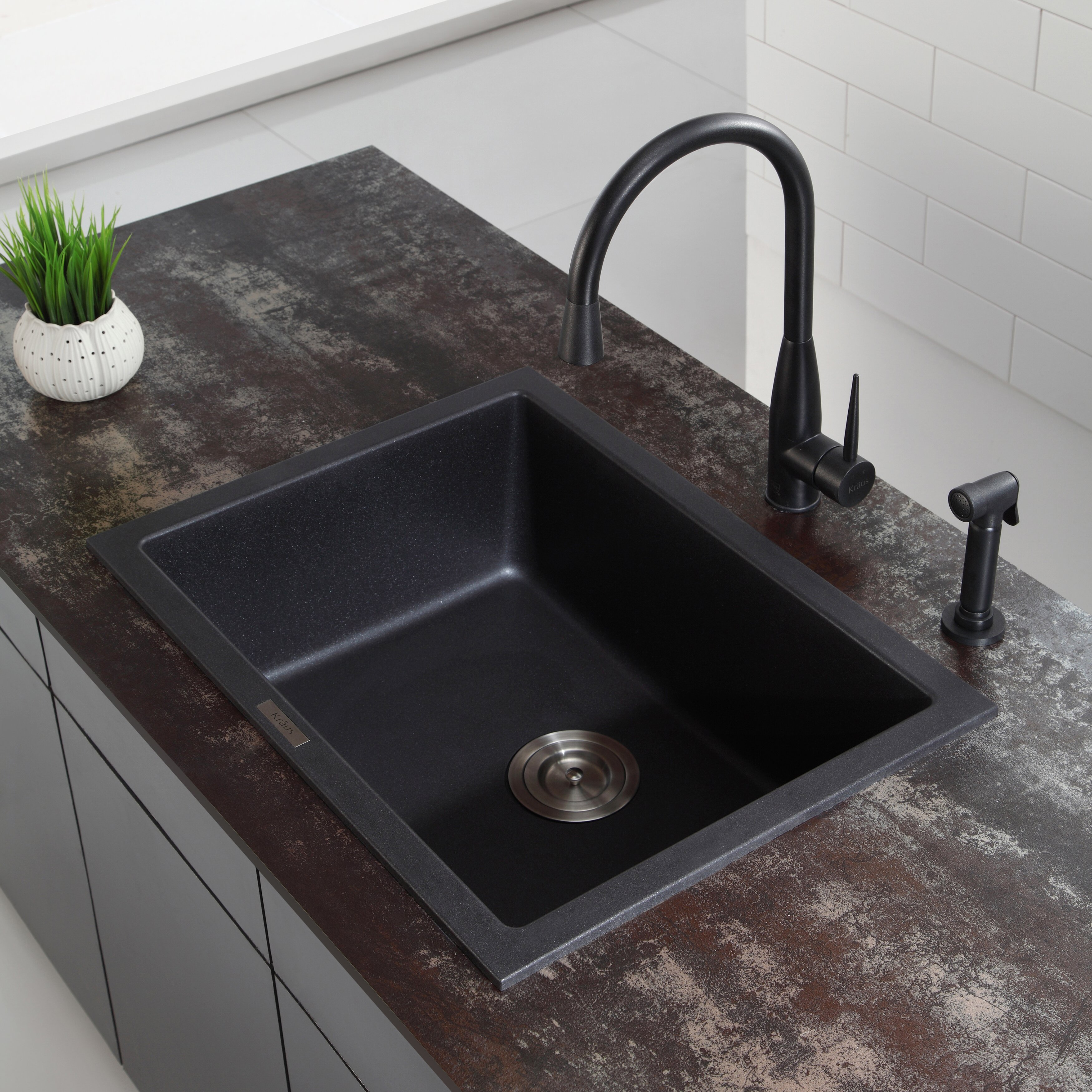 "Kraus 18"" Dual Mount Single Bowl Granite Kitchen Sink"