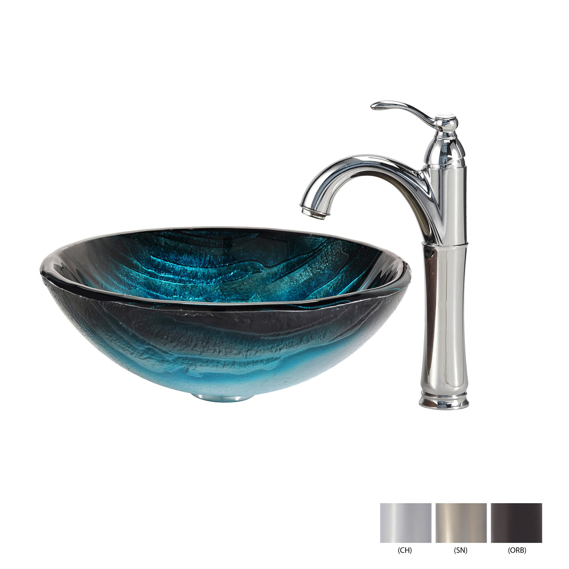 Kraus Ladon Glass Vessel Sink with Riviera Faucet Wayfair
