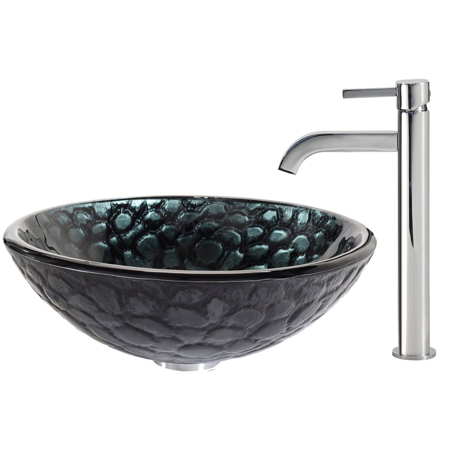 Kraus Kratos Glass Vessel Sink with Ramus Faucet Wayfair