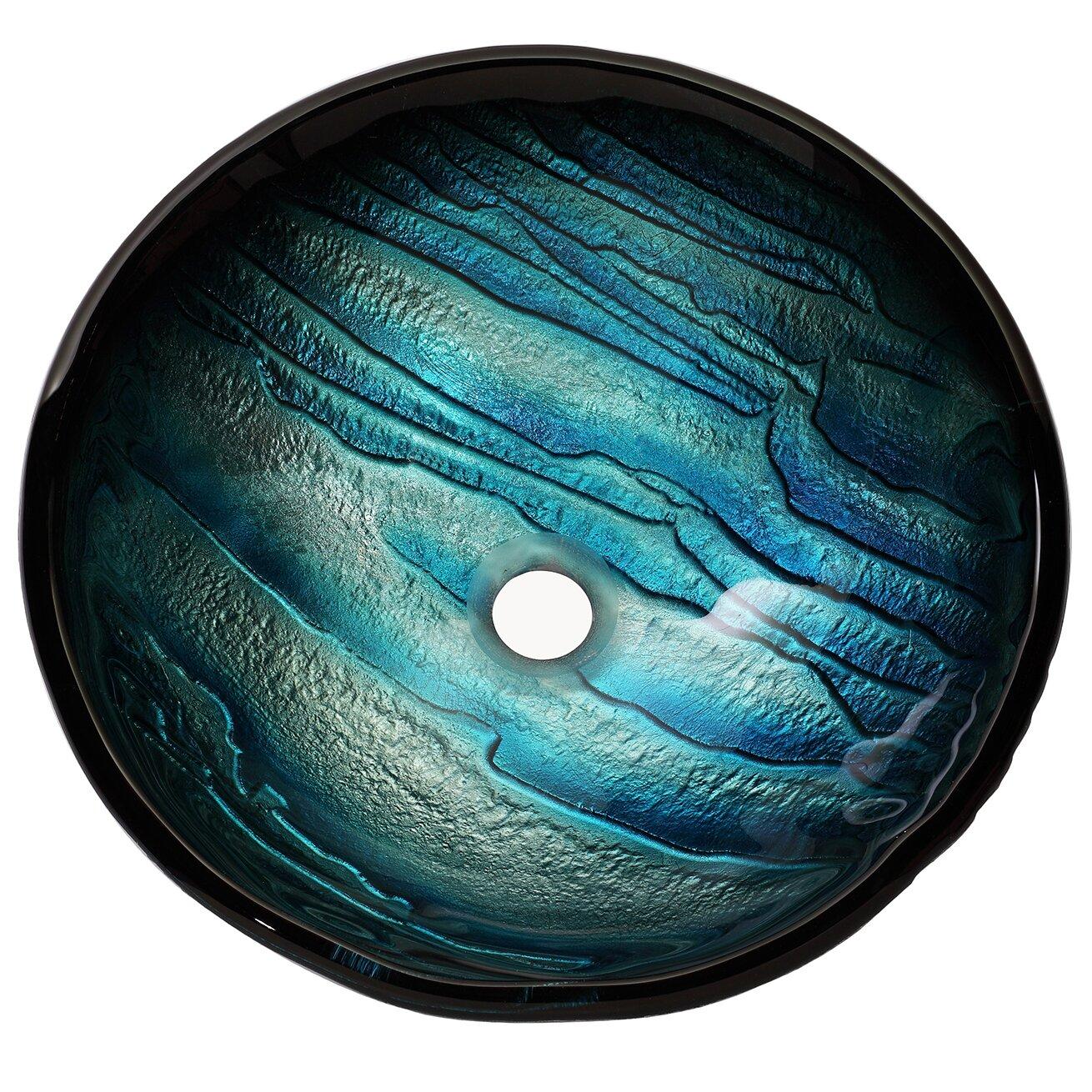 Kraus Ladon Glass Vessel Bathroom Sink With Waterfall Faucet Amp Reviews Wayfair