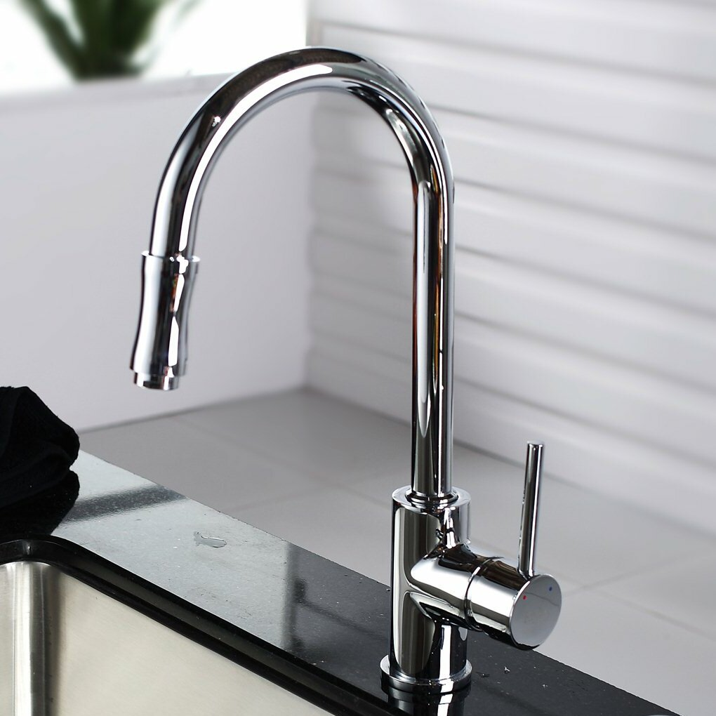 Kraus Faucets Reviews : Kraus Single Handle Pull Down Kitchen Faucet Set with Spray and Soap ...
