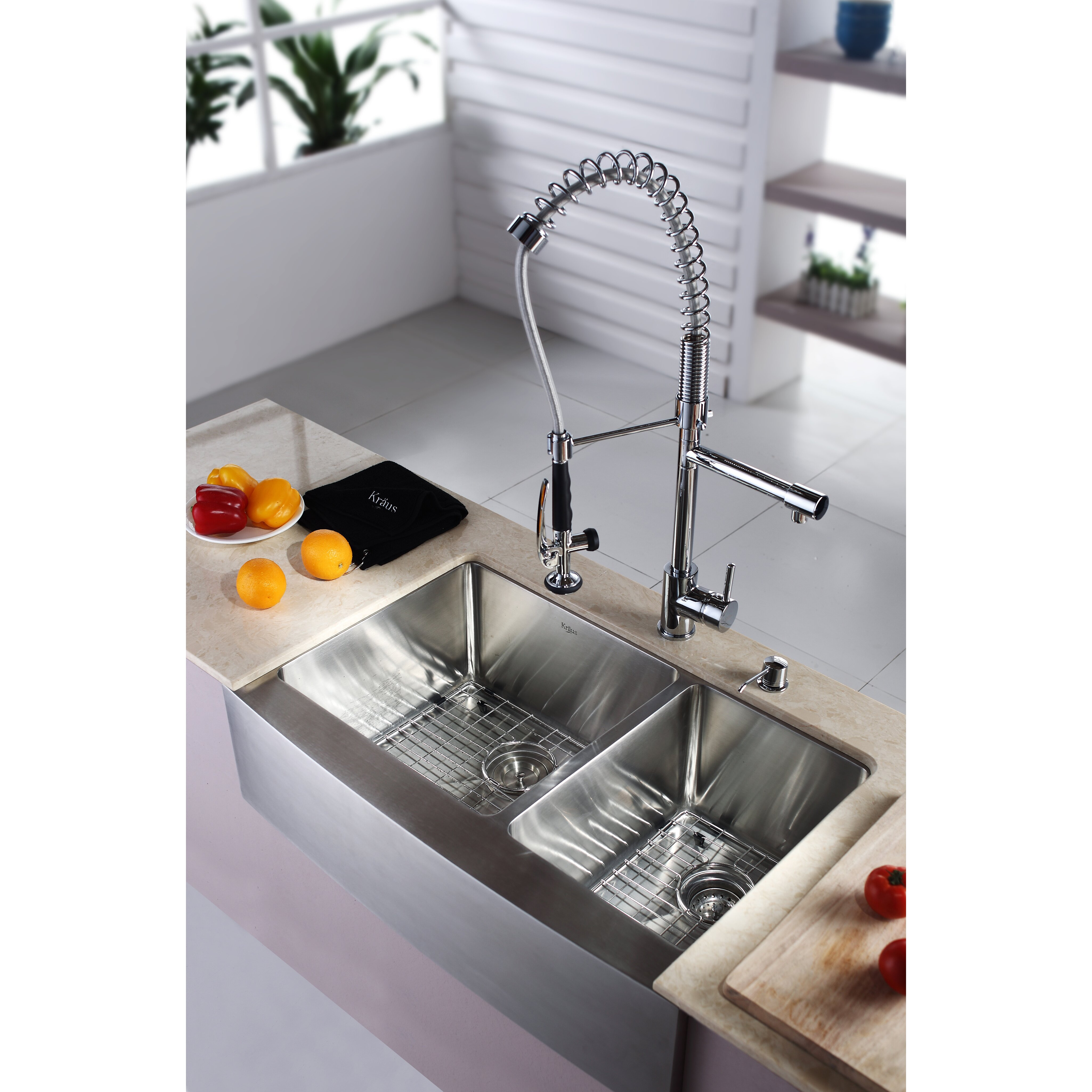 kraus 32 9 x farmhouse kitchen sink with faucet and soap dispenser reviews wayfair. Black Bedroom Furniture Sets. Home Design Ideas
