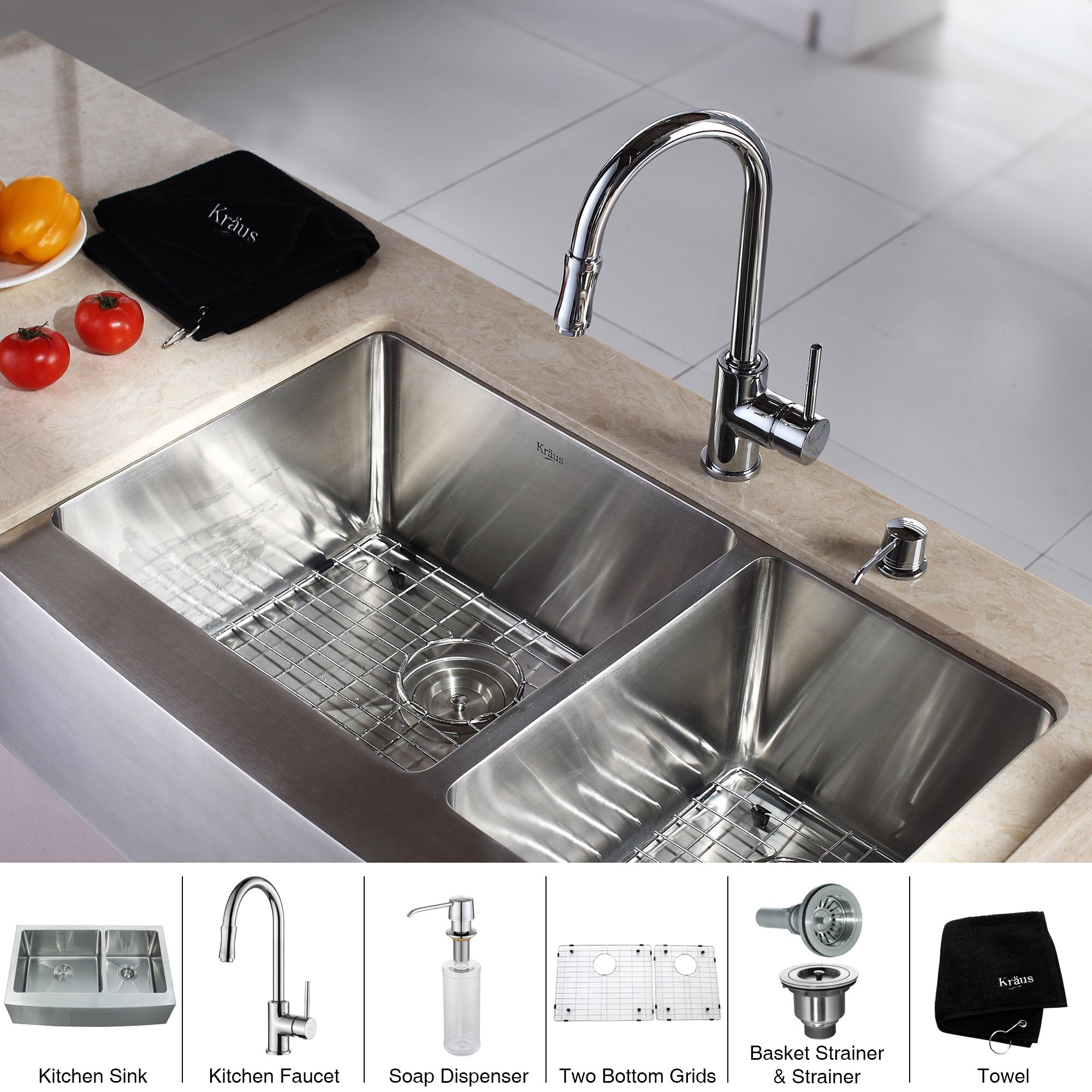 Kraus x double bowl farmhouse kitchen sink for Best kitchen faucet for double sink
