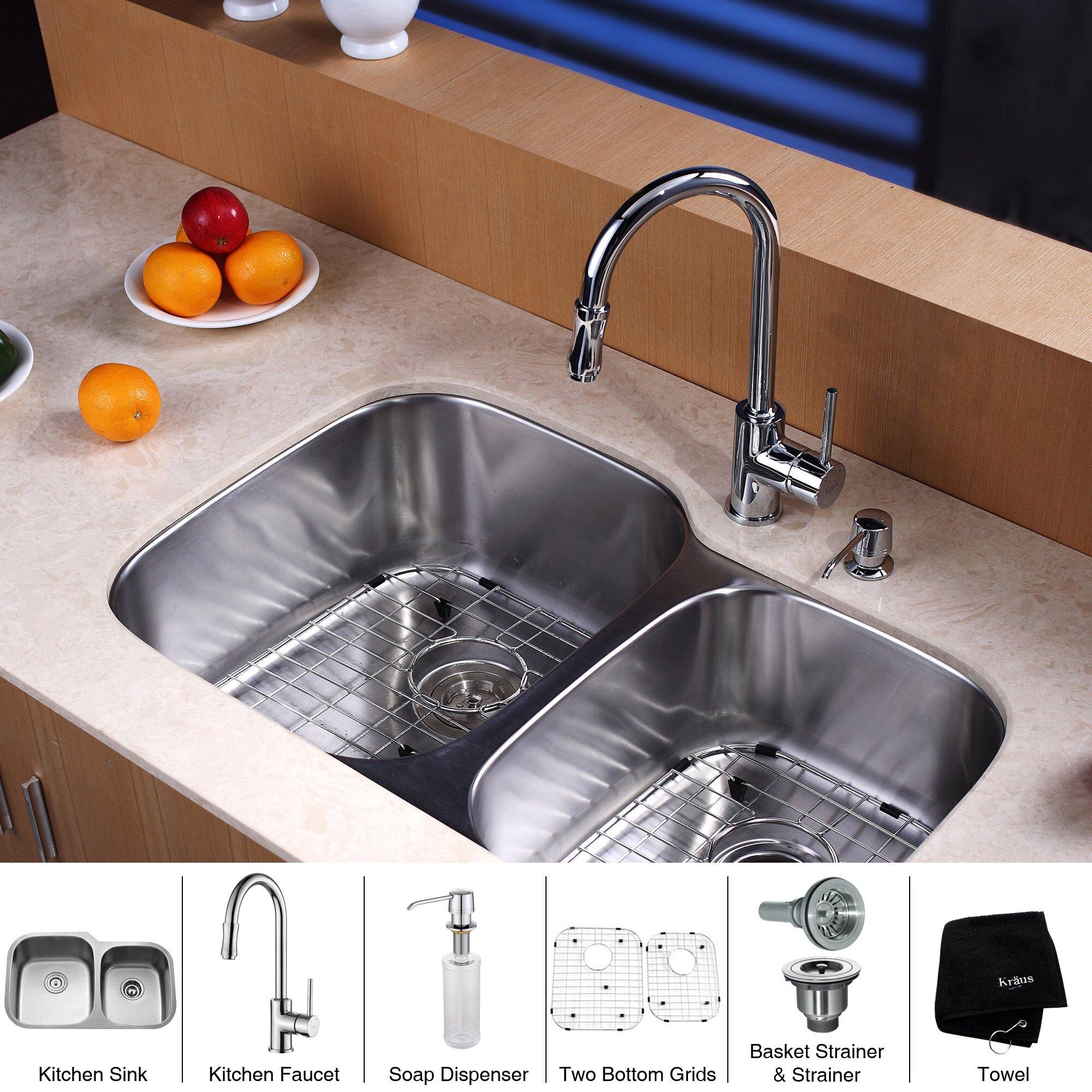 Kitchen Sink Set: Kraus 8 Piece Double Bowl Kitchen Sink Set