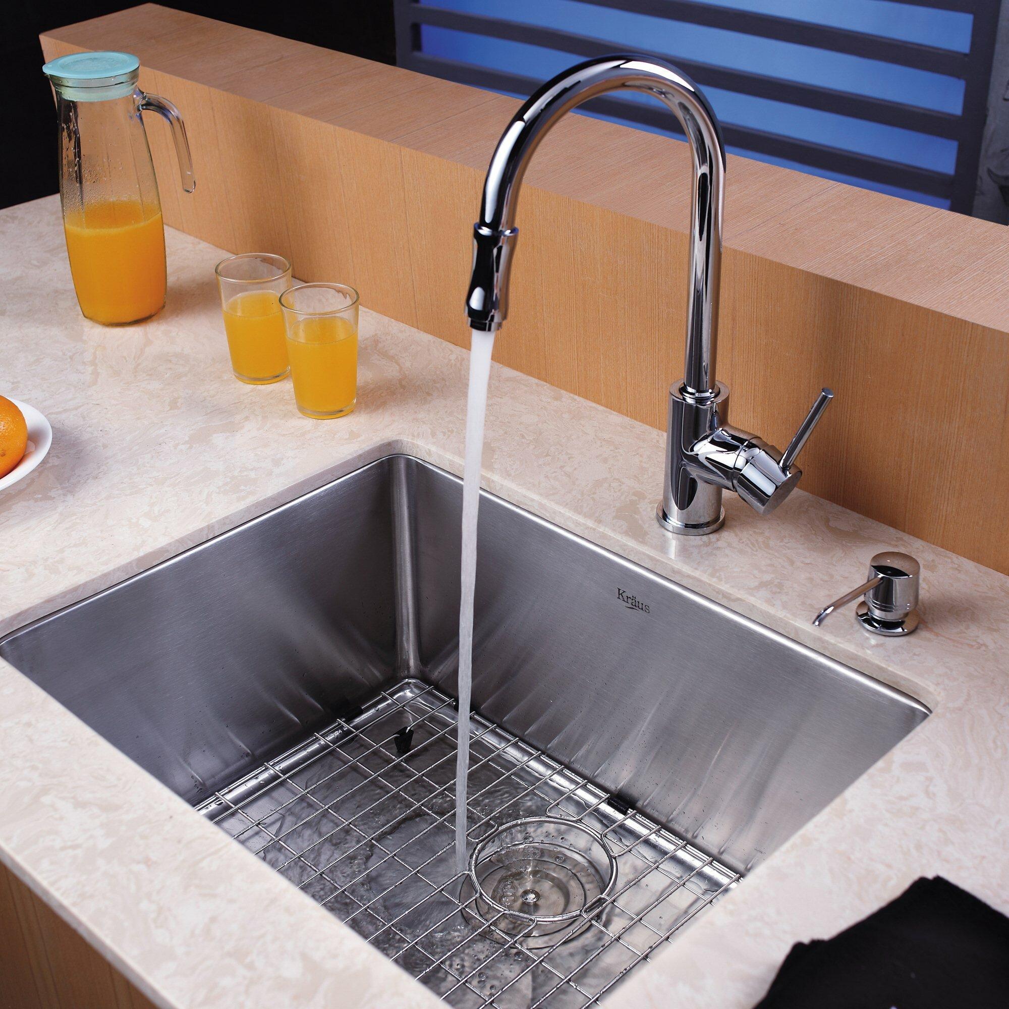 """Soap Dispenser For Kitchen Sink: Kraus 23"""" X 18"""" Undermount Single Bowl Kitchen Sink With"""