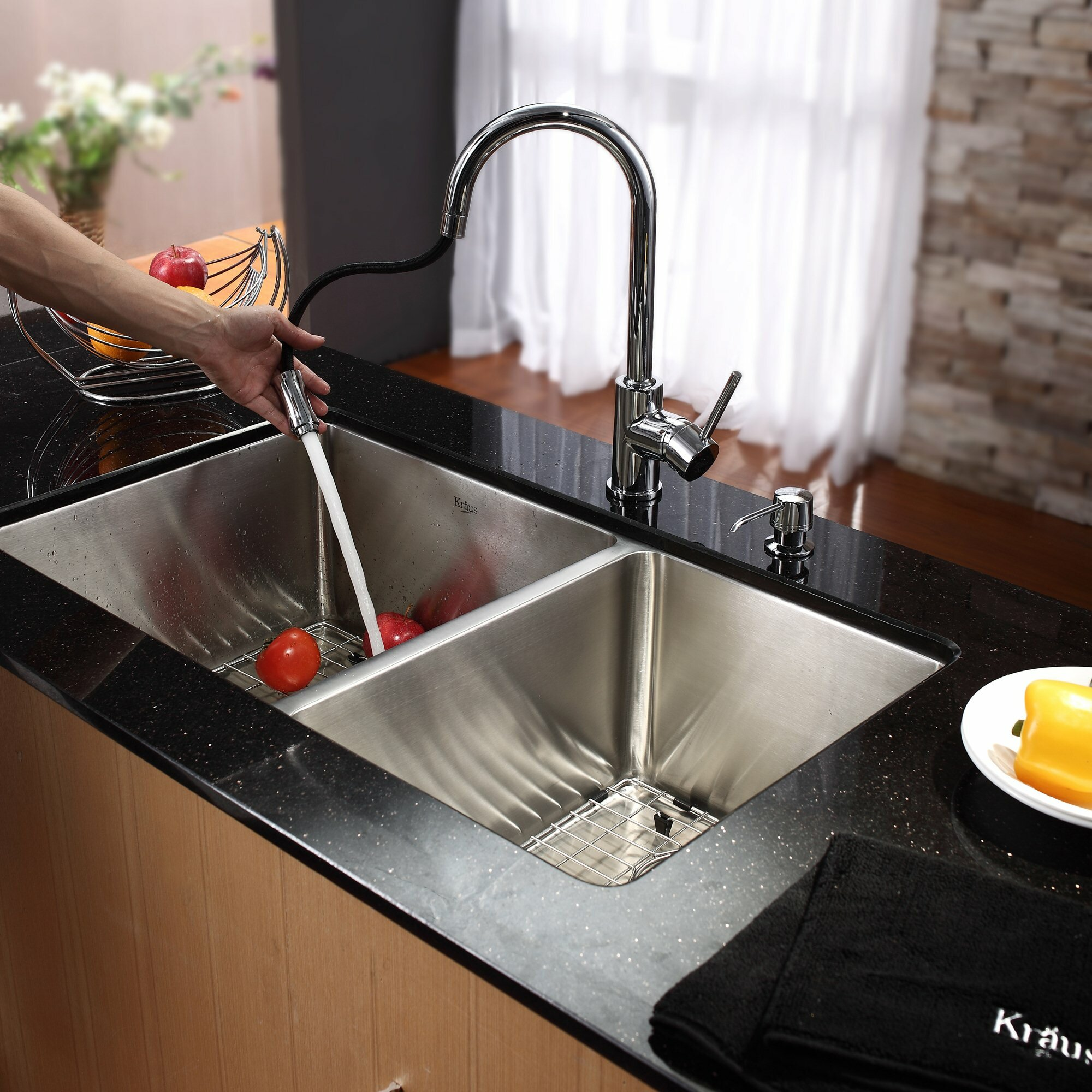 Kraus Undermount 70/30 Double Bowl Kitchen Sink with Faucet and Soap ...