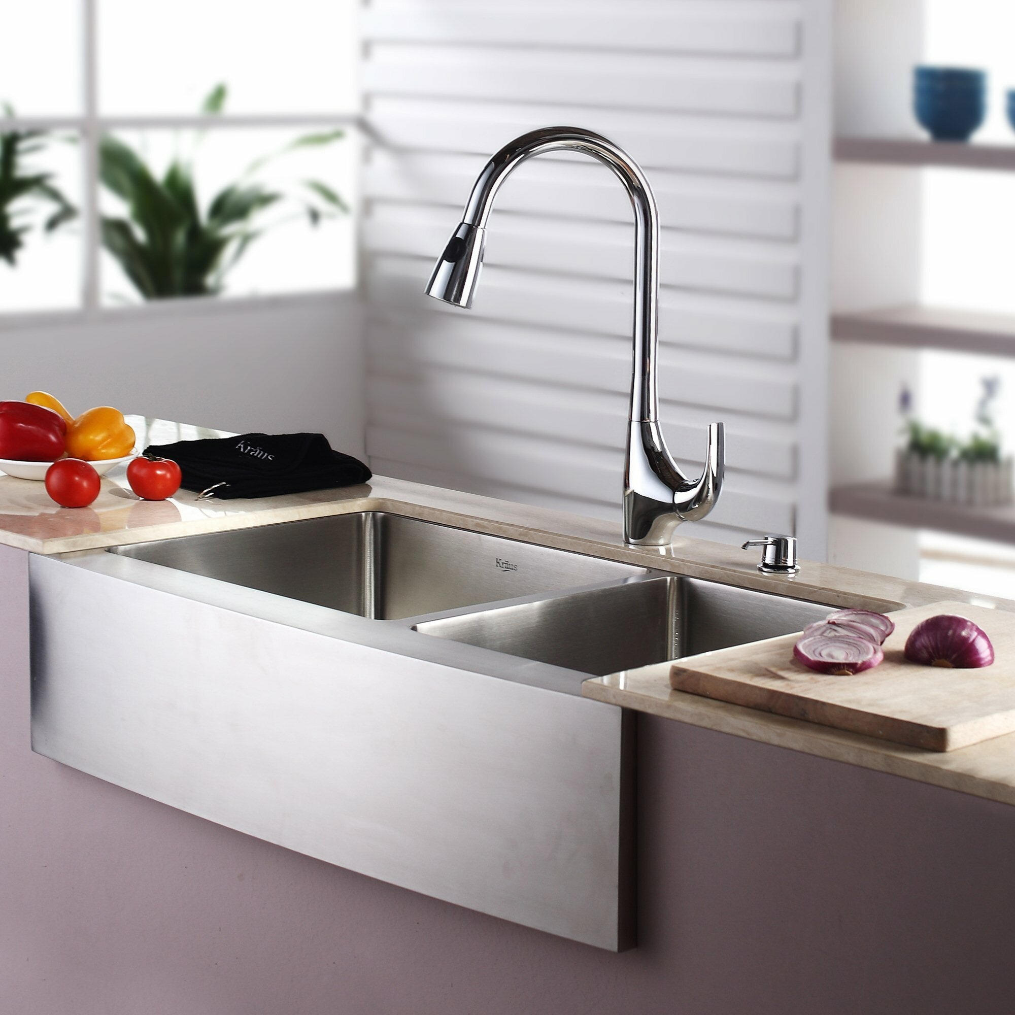kraus kitchen sinks kraus 32 88 quot x 20 75 quot farmhouse bowl kitchen sink 3612
