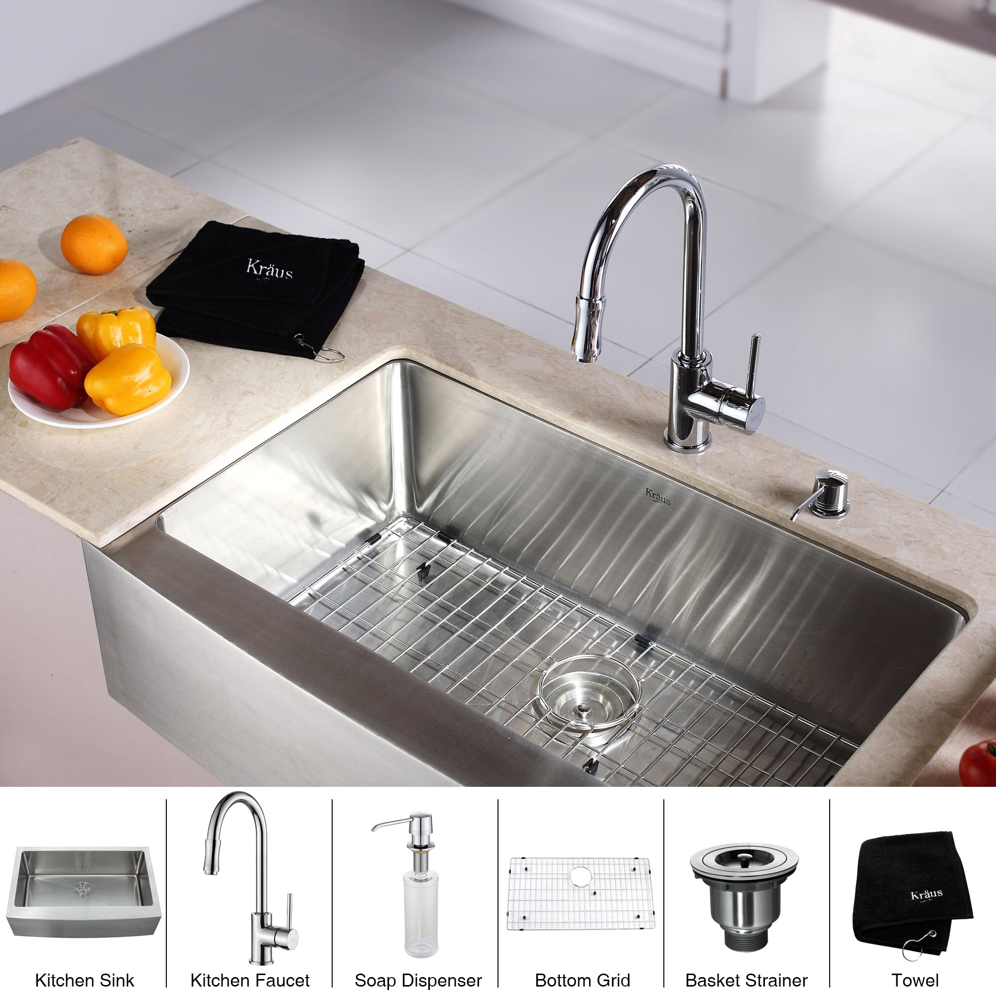 Kraus Farmhouse Kitchen Sink With Faucet And Soap Dispenser Reviews Wayfair