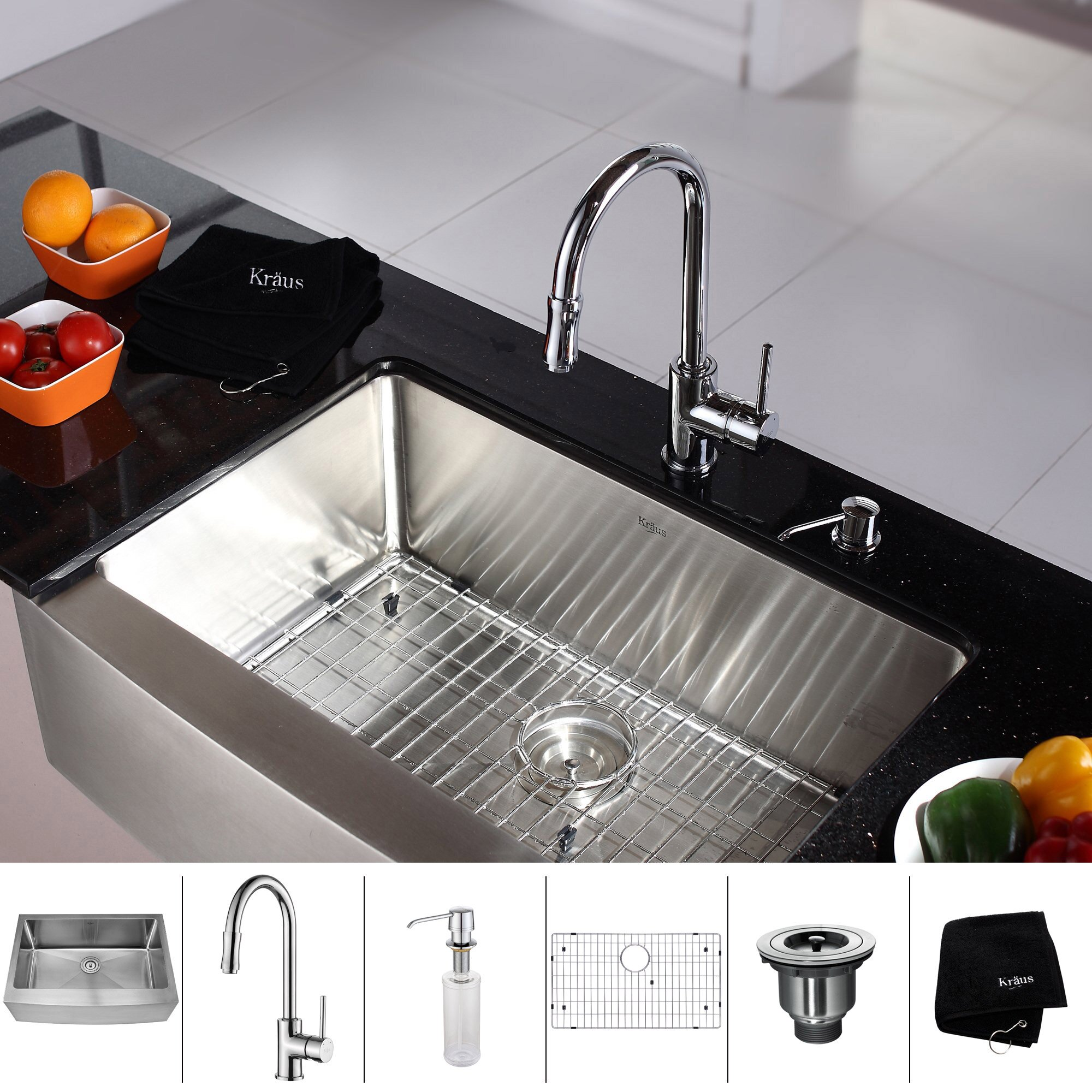"""Kraus 2975"""" X 20"""" Farmhouse Kitchen Sink With Faucet And. Round Kitchen Sink And Drainer. Unstop Kitchen Sink. Home Depot Double Kitchen Sink. Drain Pipe Size For Kitchen Sink. Kitchen Sink Clogged Past Trap. Kitchen Sinks With Granite Countertops. How To Cut Out A Kitchen Sink. Lighting Over Kitchen Sink"""