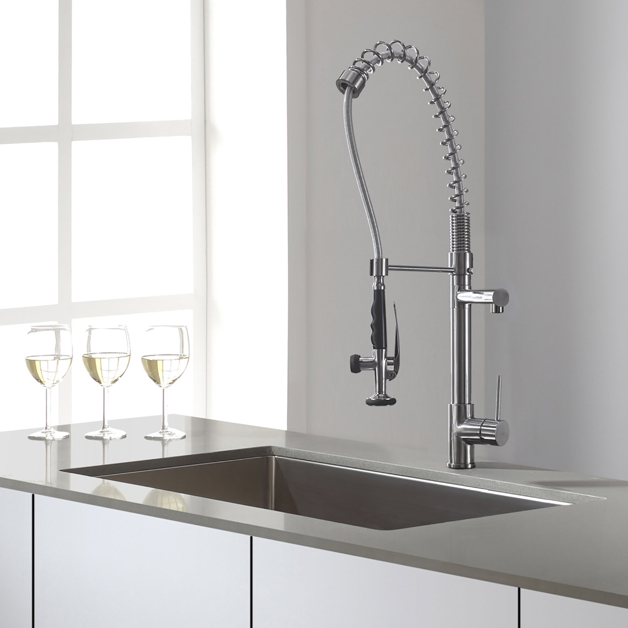 Kraus Pull Out Kitchen Mixer Deck Mounted Single Handle Faucet Reviews Wayfair