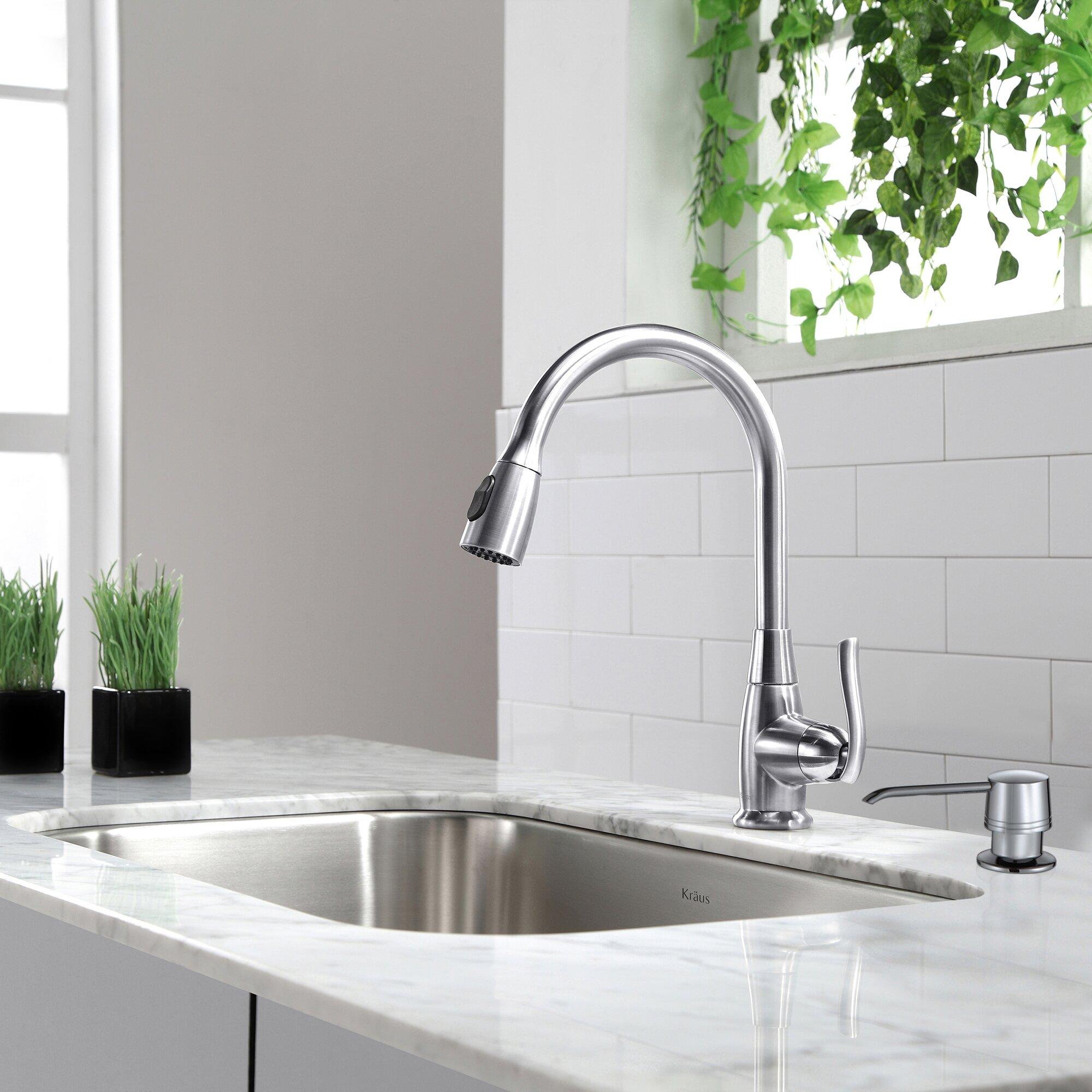 """Kitchen Sink Set: Kraus 31.5"""" X 18.38"""" 6 Piece Undermount Single Bowl"""