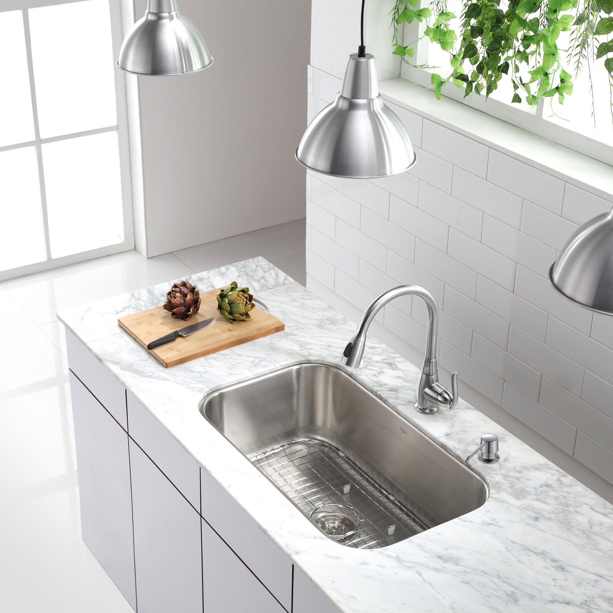 Kraus 31 5 x 6 piece undermount single bowl - Kitchen sink pieces ...