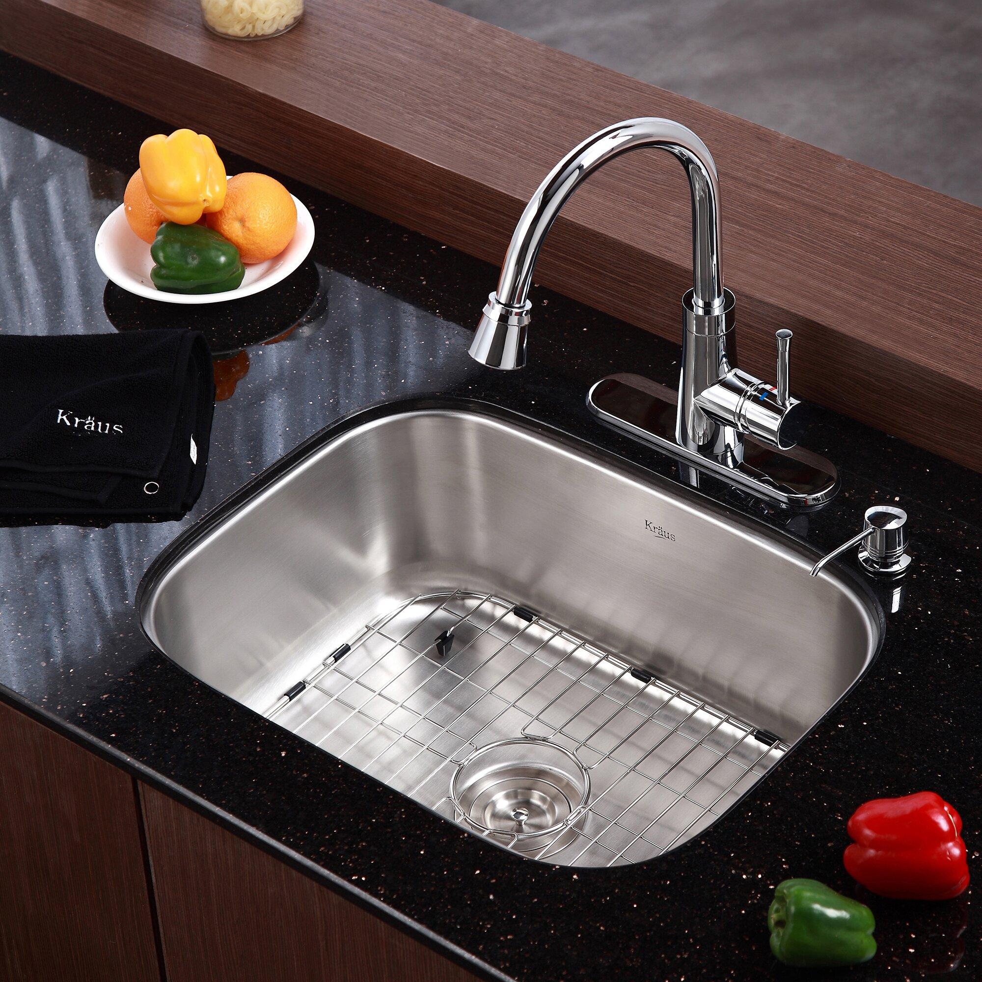 Kraus 23 x 17 6 4 piece single bowl kitchen sink set - Kitchen sink pieces ...