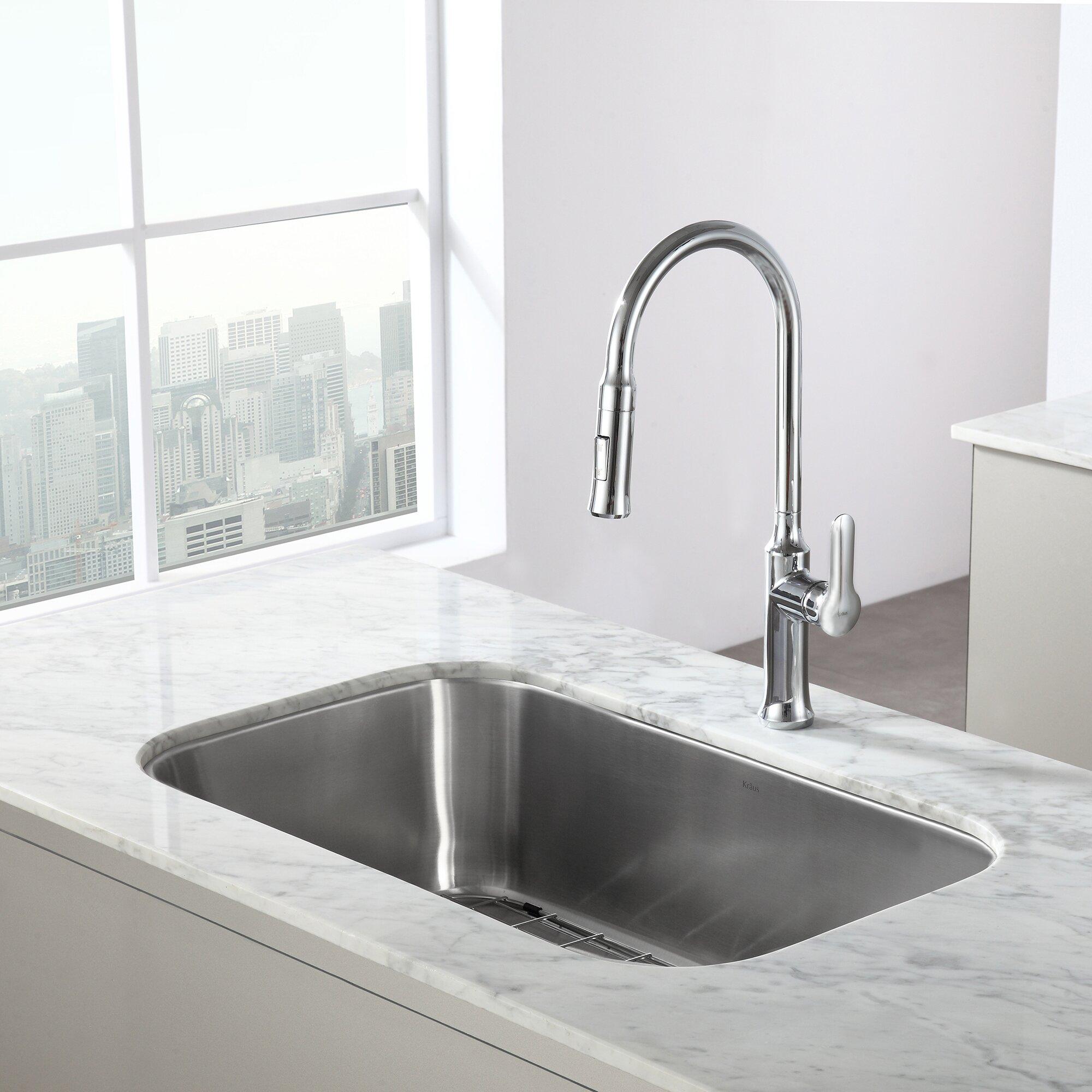 """Kitchen Sink Bowl: Kraus Stainless Steel 16 Gauge Undermount 31.5"""" Single"""