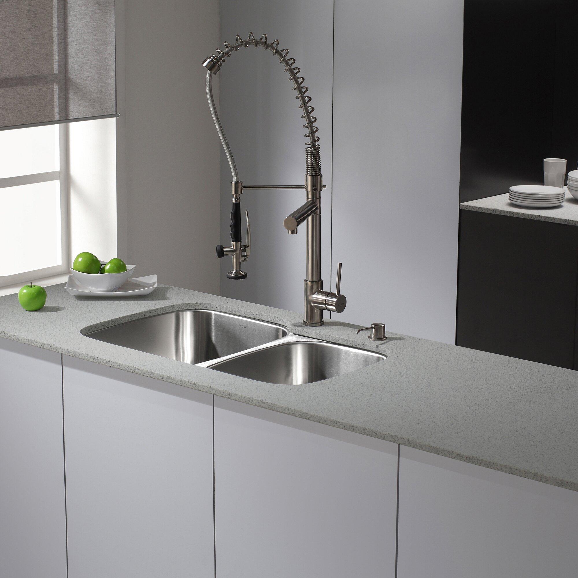 """Kitchen Sink Set: Kraus 31.5"""" X 20.5"""" 6 Piece Undermount Double Bowl Kitchen"""