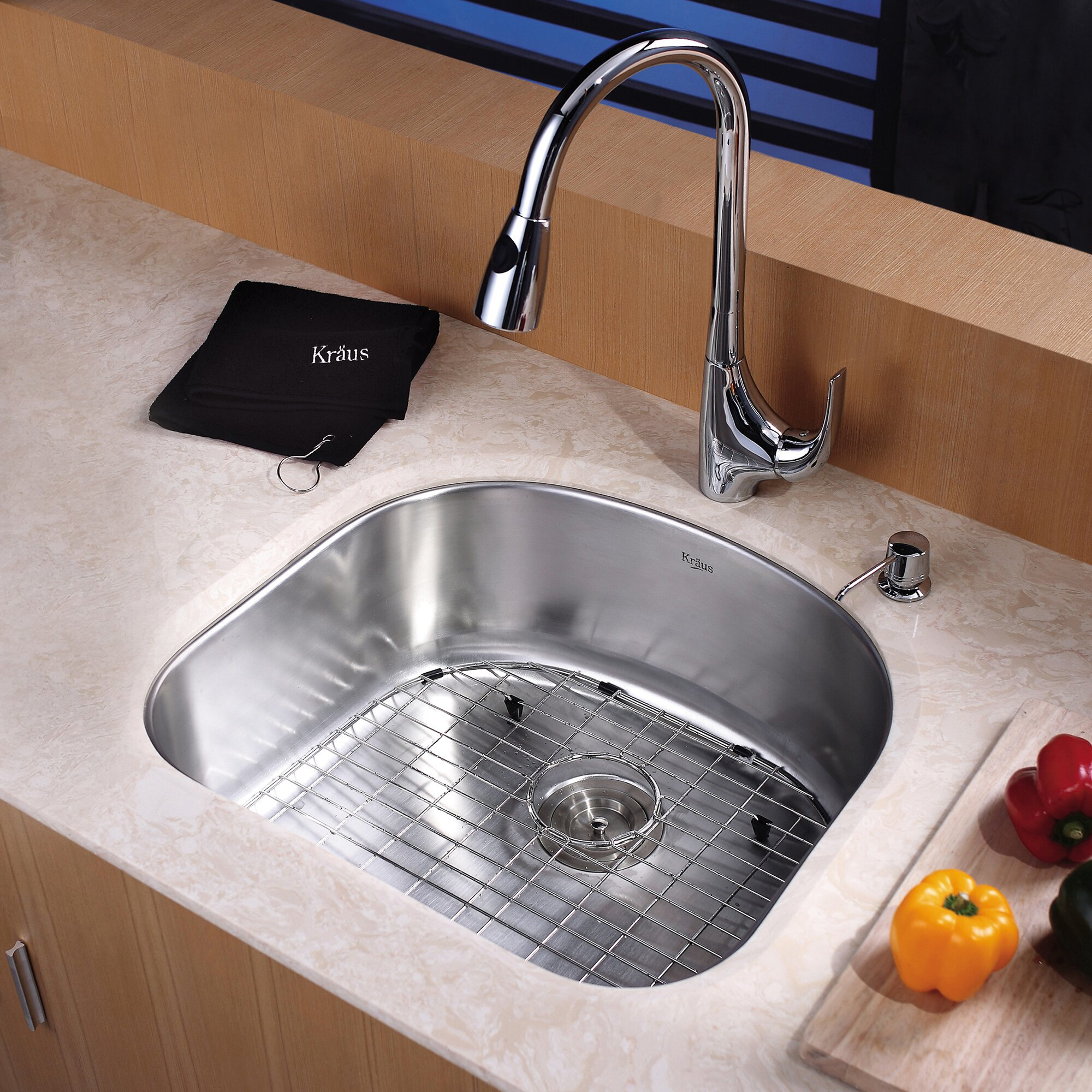"Kitchen Sink Kraus: Kraus 23.25"" X 20.88"" Undermount Single Bowl Kitchen Sink"