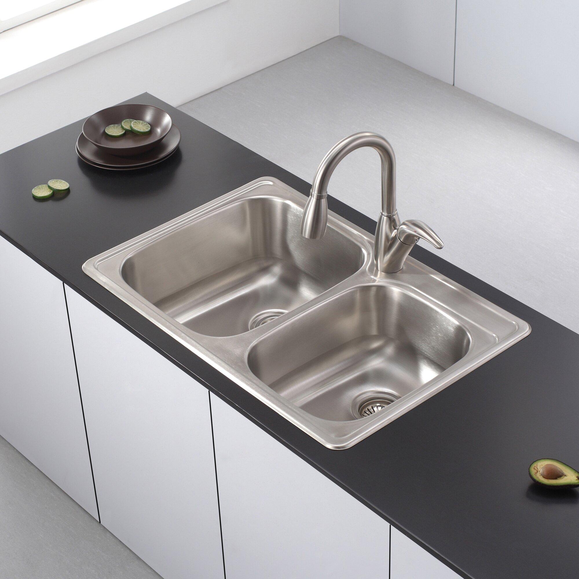 Top Mount Kitchen Sinks : ... Piece Topmount 60/40 Double Bowl Kitchen Sink Set & Reviews Wayfair