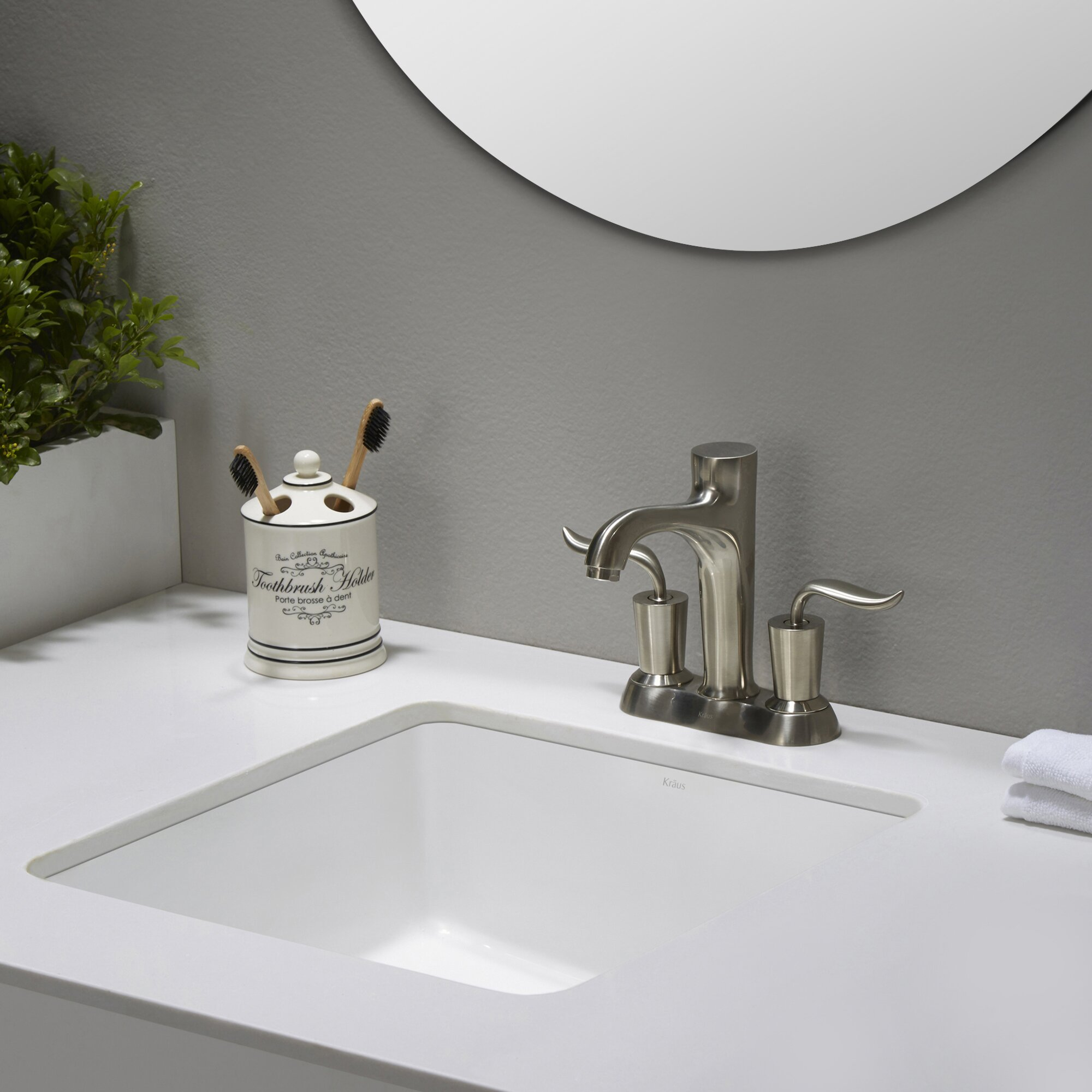 Undermount Square Bathroom Sink : Kraus Elavo? Ceramic Square Undermount Bathroom Sink with Overflow ...