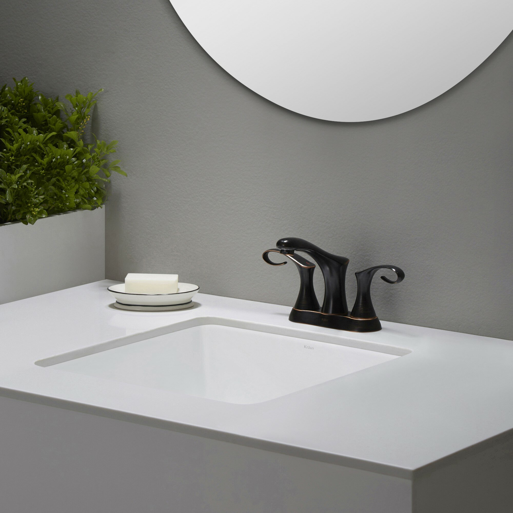 Kraus Elavo Ceramic Square Undermount Bathroom Sink With